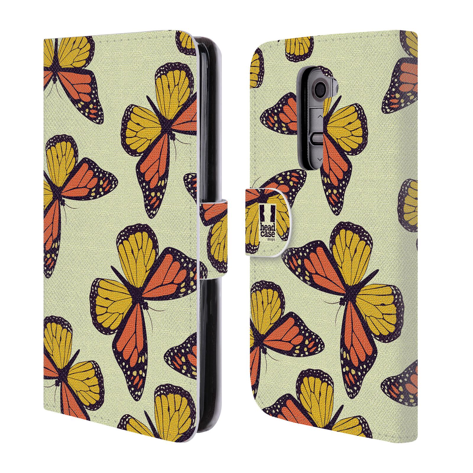 HEAD CASE Flipové pouzdro pro mobil LG G2 (D802) Vzorkovaný motýl Monarcha oranžová