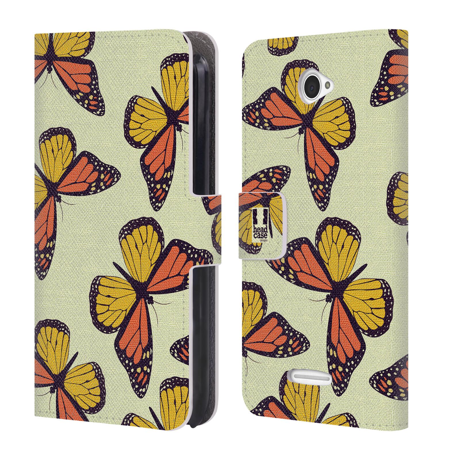 HEAD CASE Flipové pouzdro pro mobil SONY XPERIA E4 Vzorkovaný motýl Monarcha oranžová
