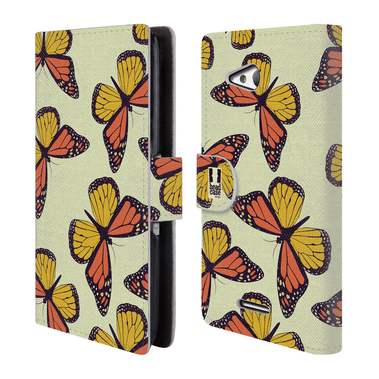 HEAD CASE Flipové pouzdro pro mobil SONY XPERIA E4g Vzorkovaný motýl Monarcha oranžová