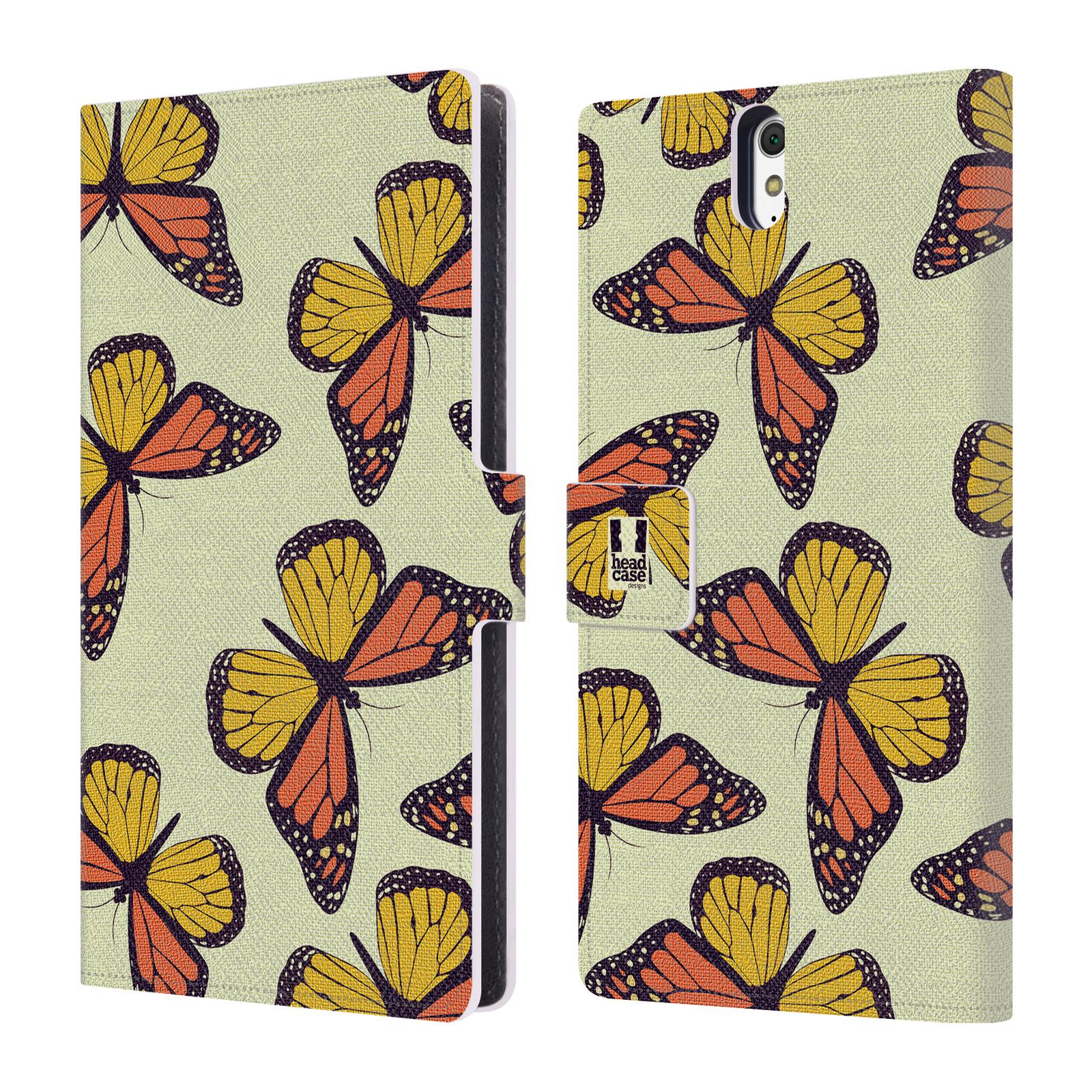 HEAD CASE Flipové pouzdro pro mobil SONY XPERIA C5 Ultra Vzorkovaný motýl Monarcha oranžová