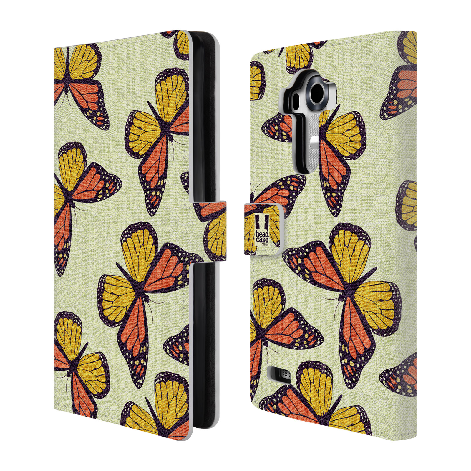 HEAD CASE Flipové pouzdro pro mobil LG G4 (H815) Vzorkovaný motýl Monarcha oranžová