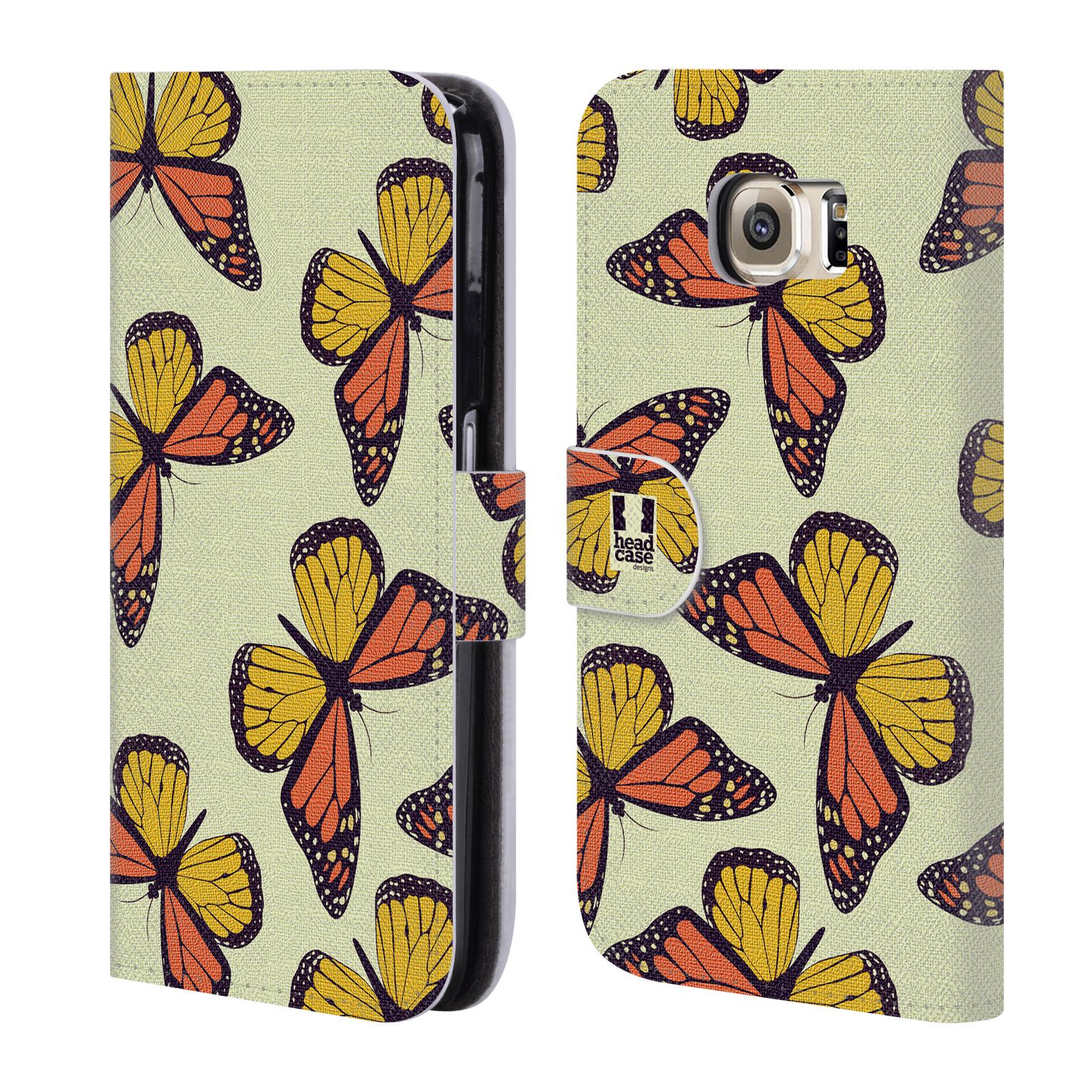 HEAD CASE Flipové pouzdro pro mobil Samsung Galaxy S6 (G9200) Vzorkovaný motýl Monarcha oranžová