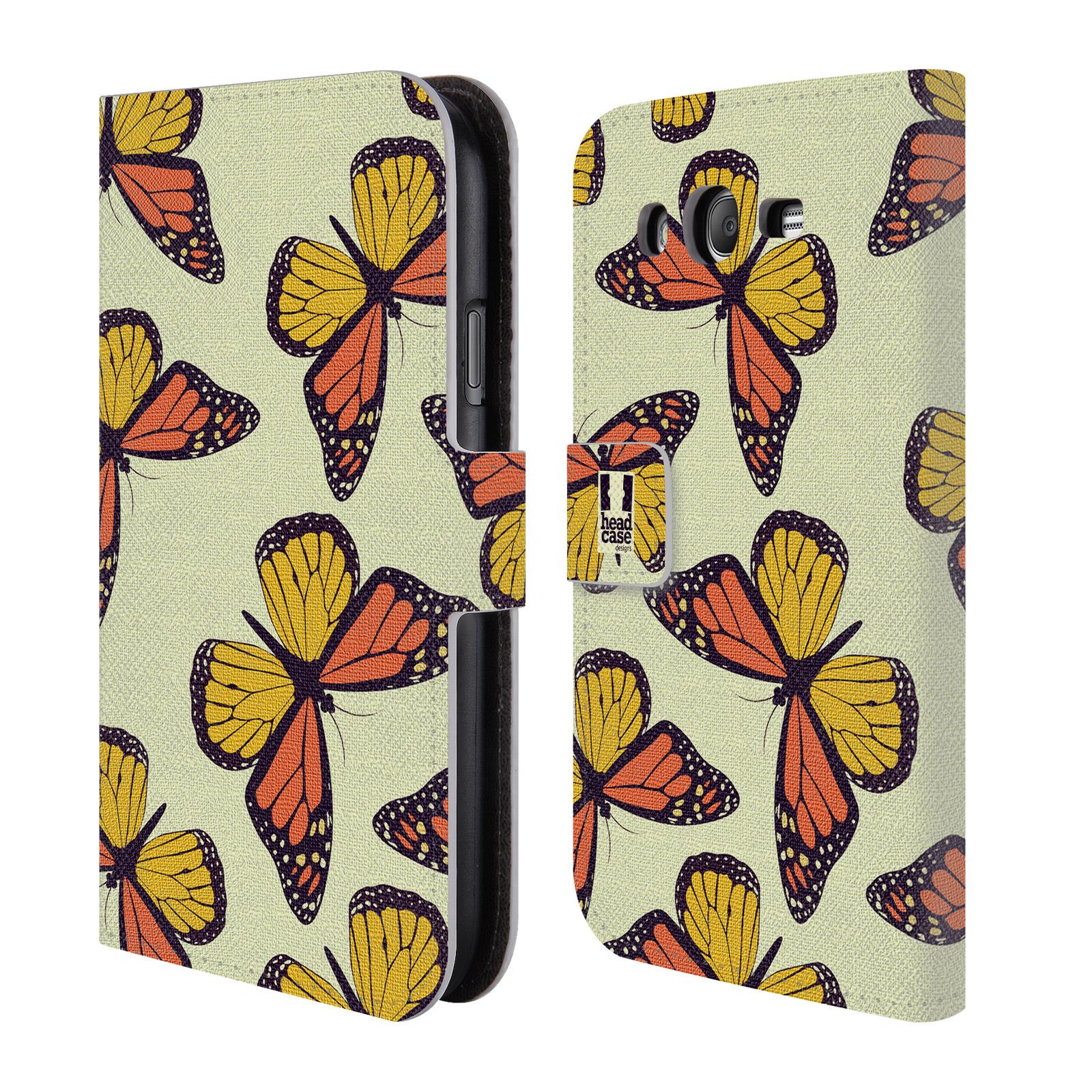 HEAD CASE Flipové pouzdro pro mobil Samsung Galaxy Grand i9080 Vzorkovaný motýl Monarcha oranžová