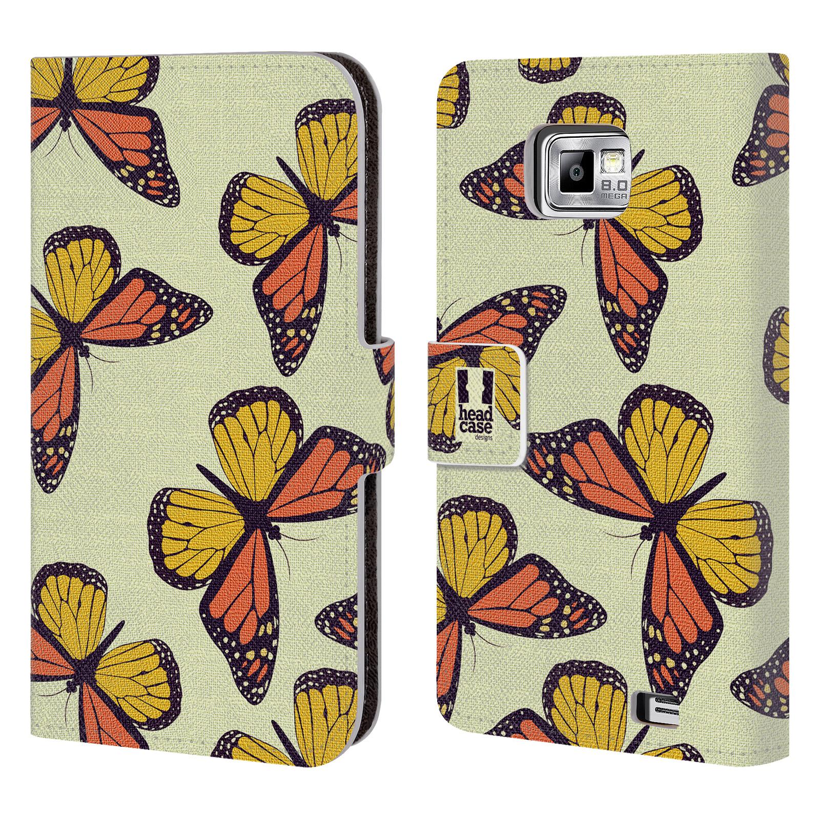 HEAD CASE Flipové pouzdro pro mobil Samsung Galaxy S2 i9100 Vzorkovaný motýl Monarcha oranžová
