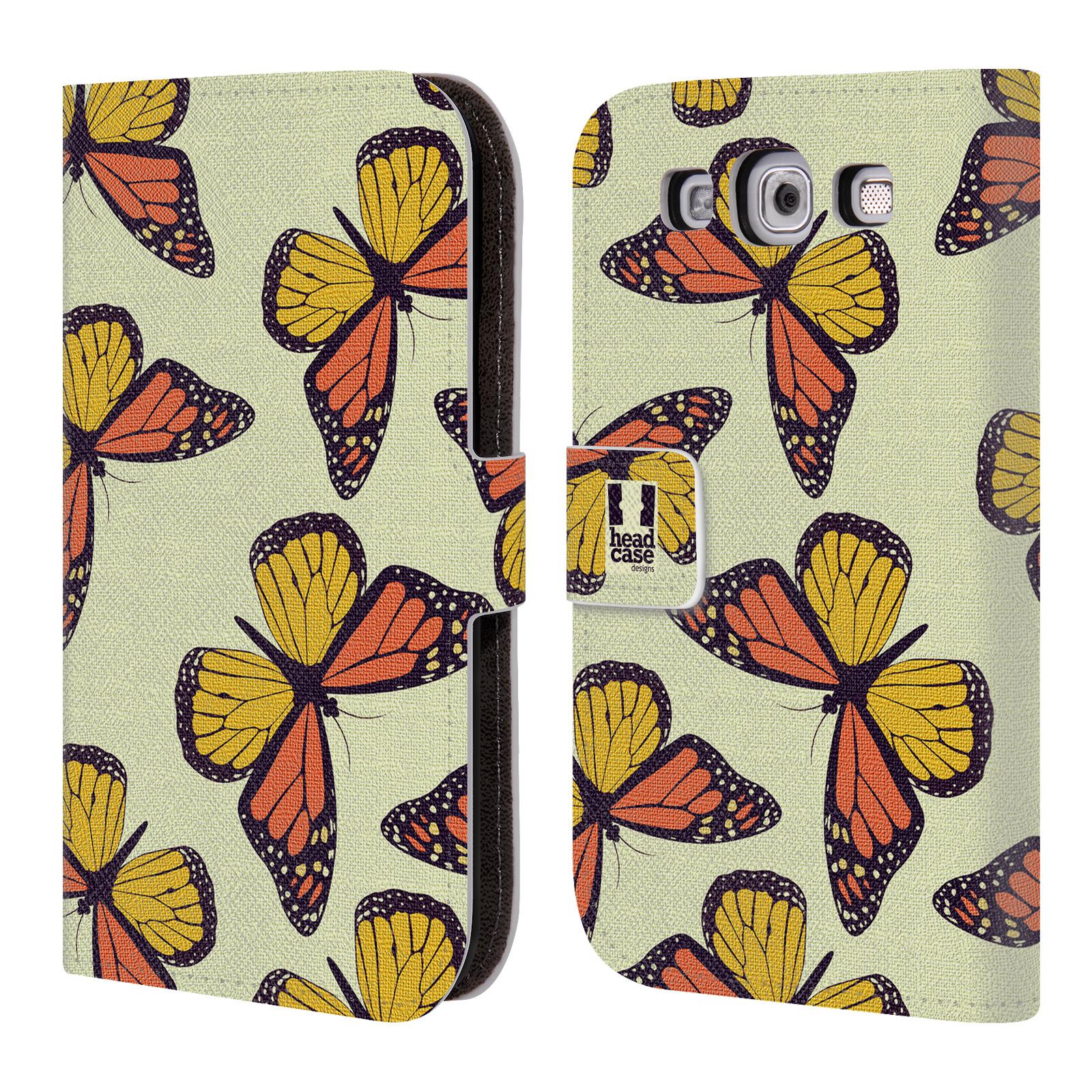HEAD CASE Flipové pouzdro pro mobil Samsung Galaxy S3 Vzorkovaný motýl Monarcha oranžová