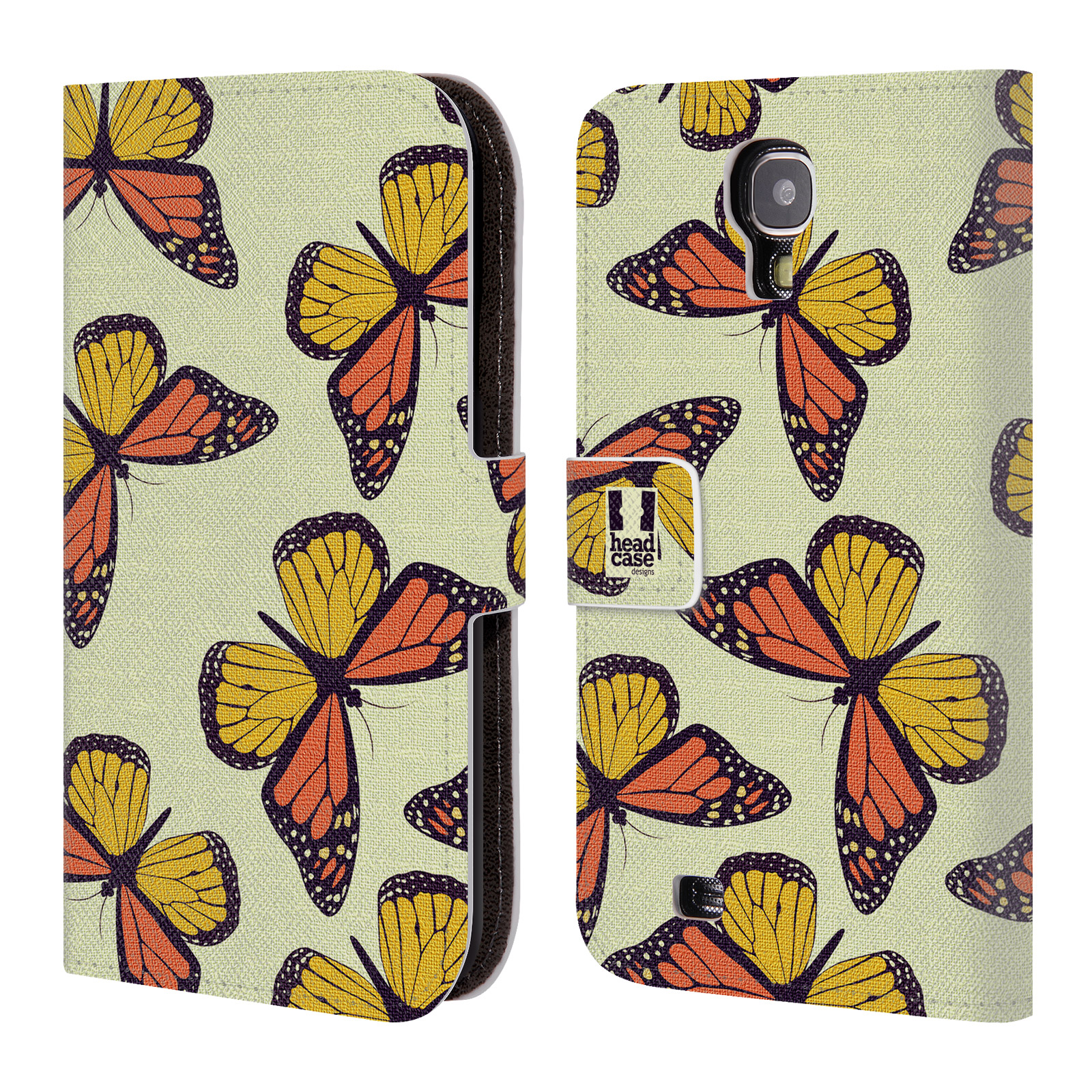 HEAD CASE Flipové pouzdro pro mobil Samsung Galaxy S4 Vzorkovaný motýl Monarcha oranžová