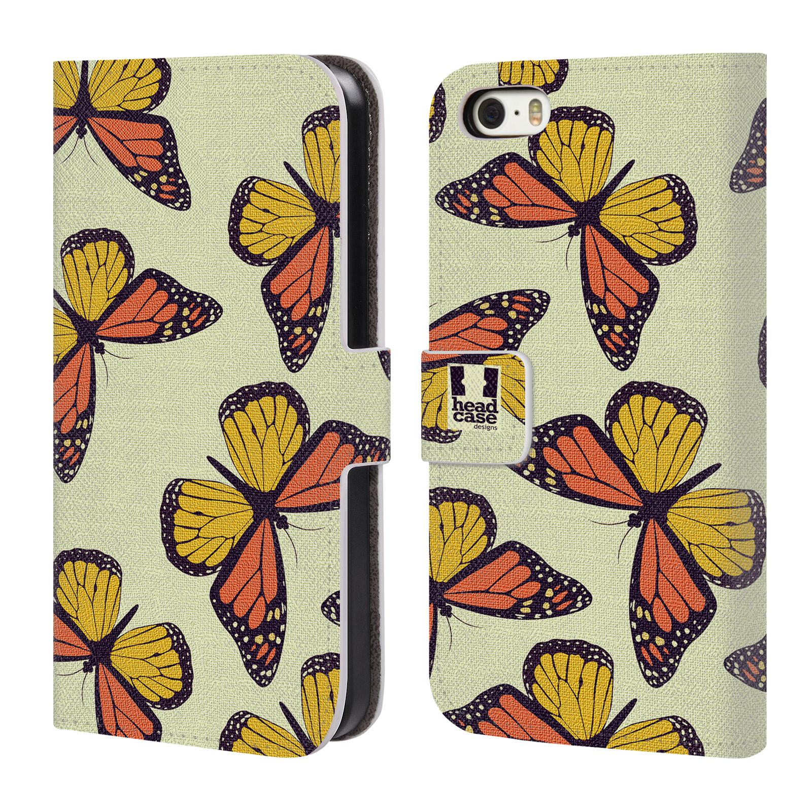 HEAD CASE Flipové pouzdro pro mobil Apple Iphone 5/5s Vzorkovaný motýl Monarcha oranžová
