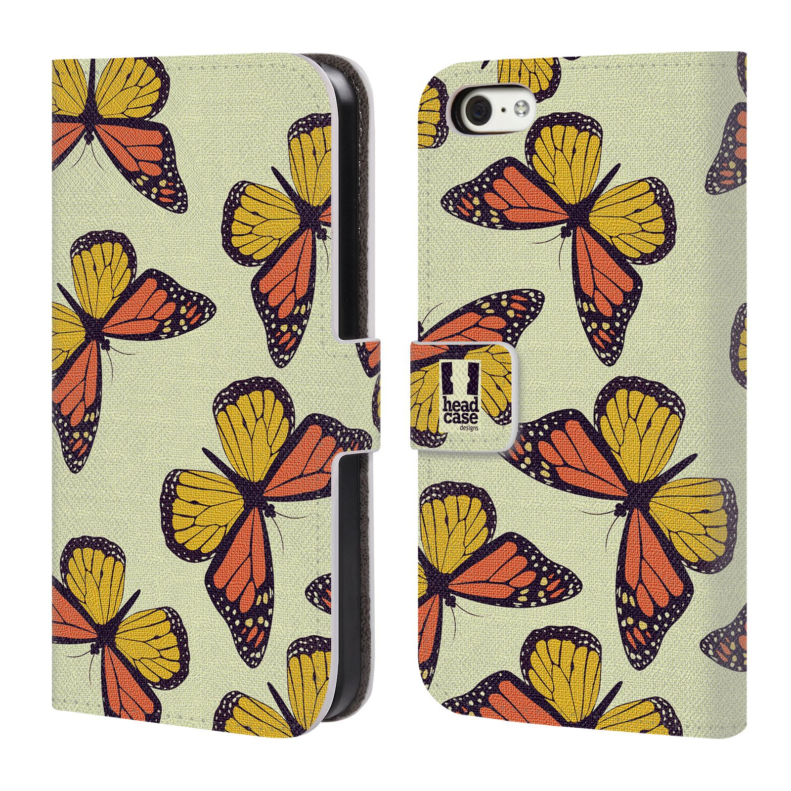 HEAD CASE Flipové pouzdro pro mobil Apple Iphone 5C Vzorkovaný motýl Monarcha oranžová