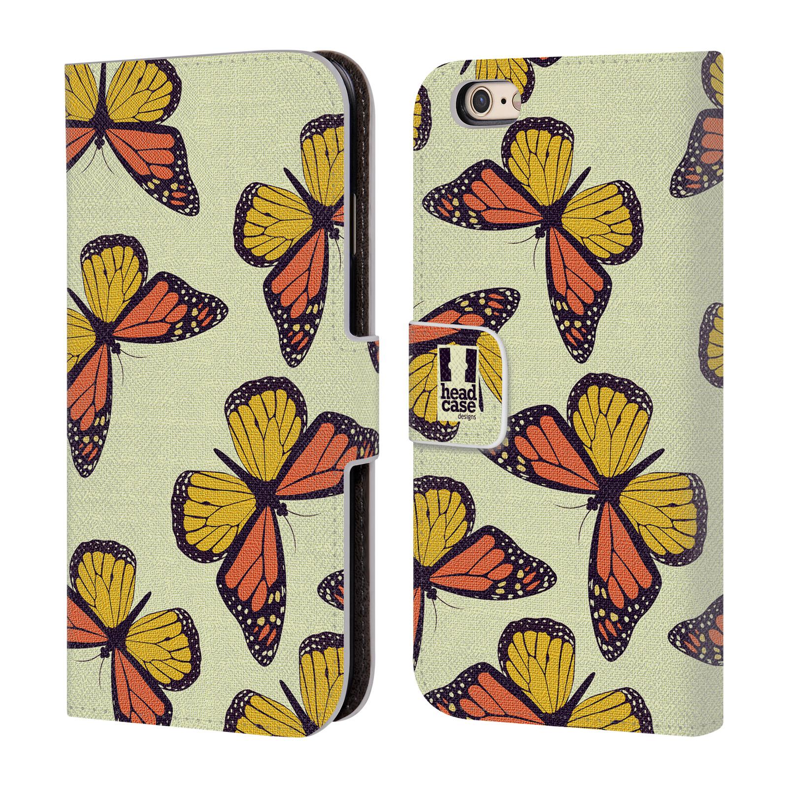 HEAD CASE Flipové pouzdro pro mobil Apple Iphone 6/6s Vzorkovaný motýl Monarcha oranžová
