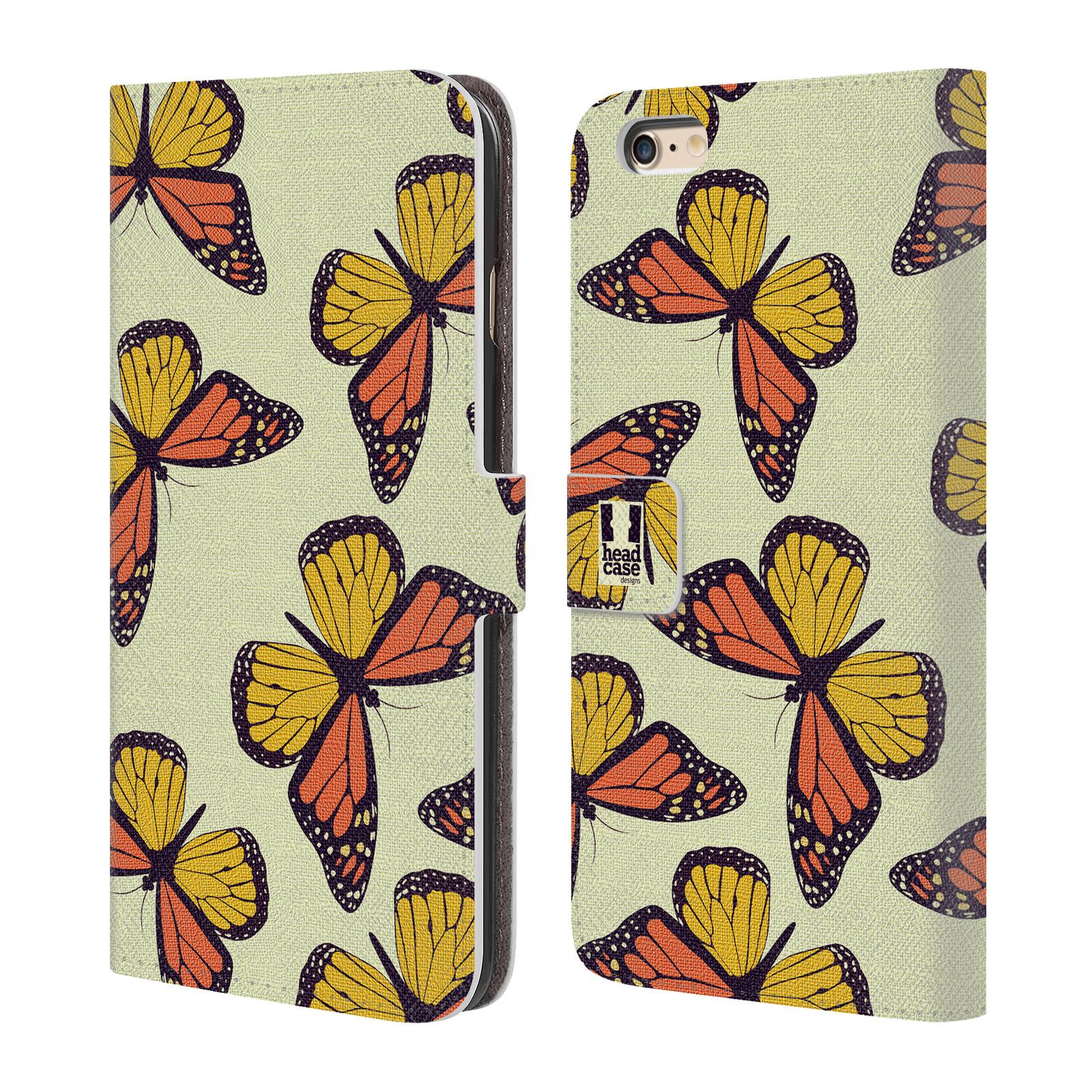 HEAD CASE Flipové pouzdro pro mobil Apple Iphone 6 PLUS / 6S PLUS Vzorkovaný motýl Monarcha oranžová