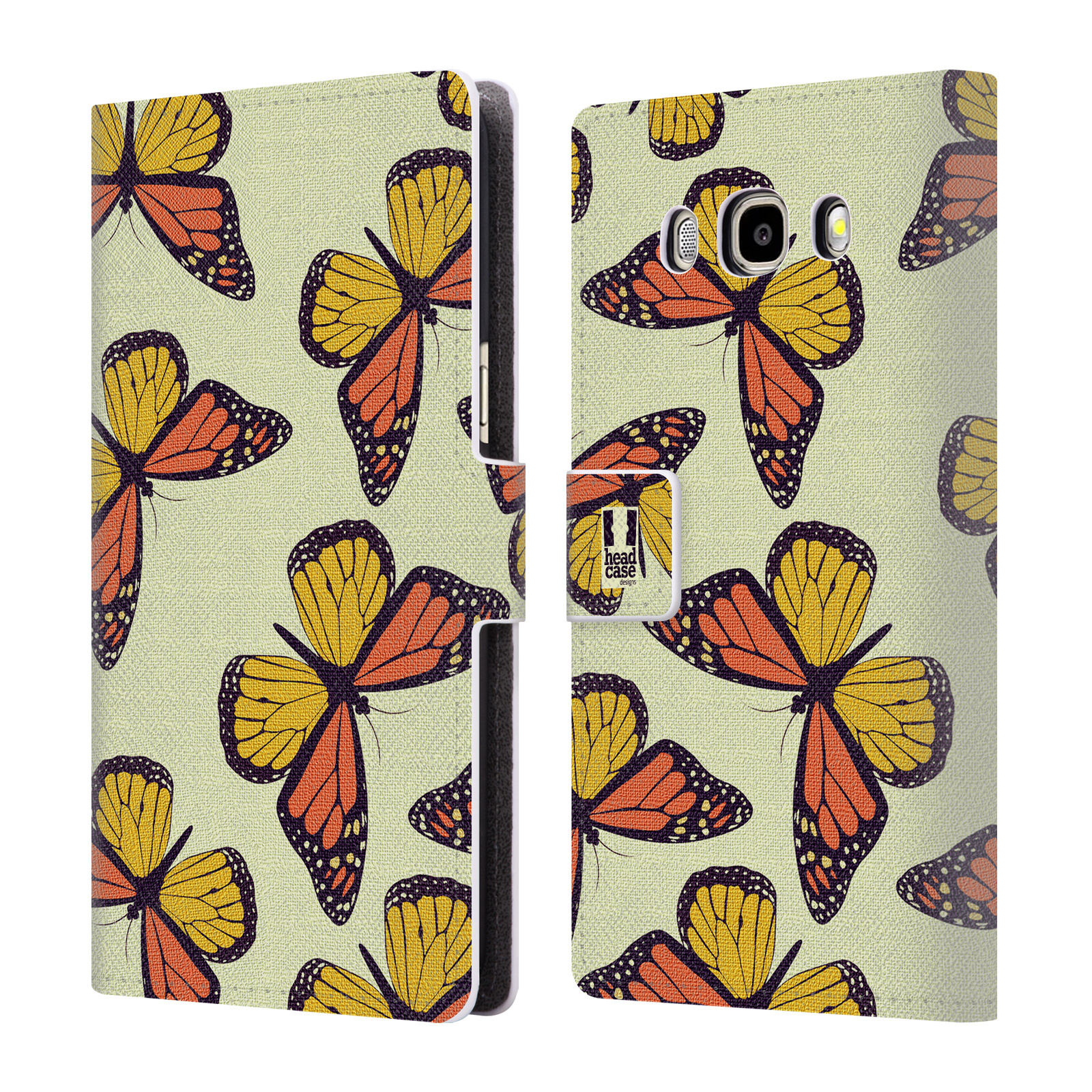 HEAD CASE Flipové pouzdro pro mobil Samsung Galaxy J5 2016 Vzorkovaný motýl Monarcha oranžová
