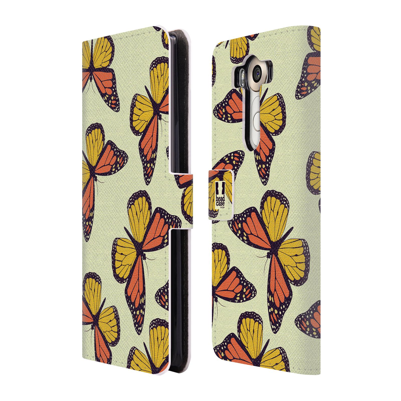 HEAD CASE Flipové pouzdro pro mobil LG V10 Vzorkovaný motýl Monarcha oranžová
