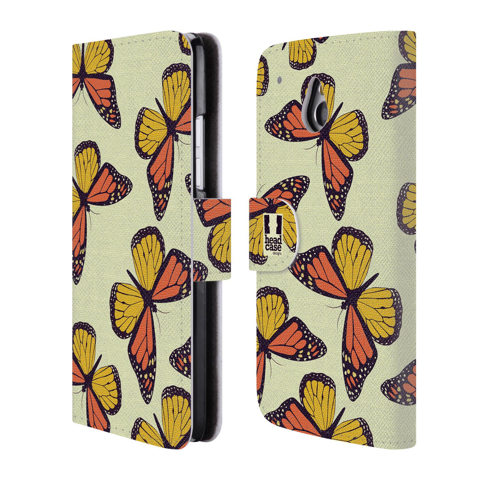HEAD CASE Flipové pouzdro pro mobil HTC ONE MINI (M4) Vzorkovaný motýl Monarcha oranžová