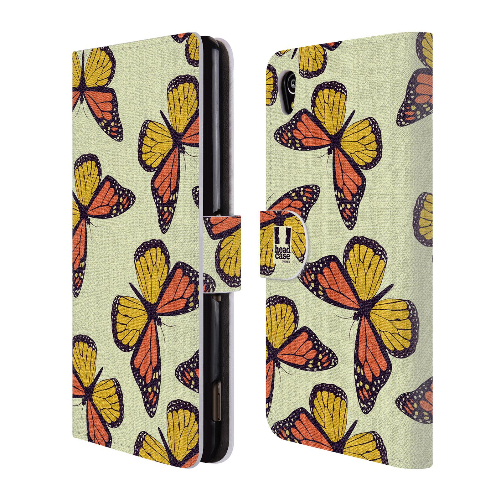 HEAD CASE Flipové pouzdro pro mobil SONY XPERIA M4 AQUA Vzorkovaný motýl Monarcha oranžová