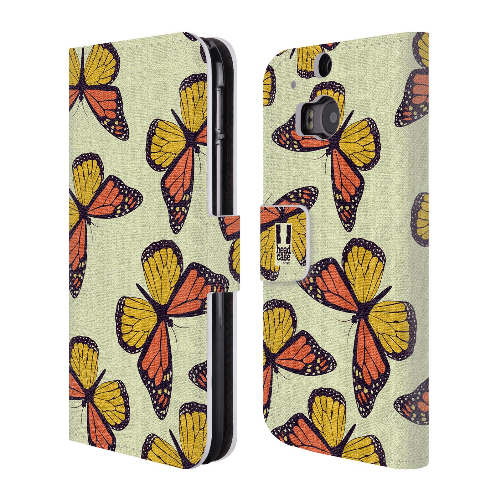 HEAD CASE Flipové pouzdro pro mobil HTC ONE (M8, M8s) Vzorkovaný motýl Monarcha oranžová