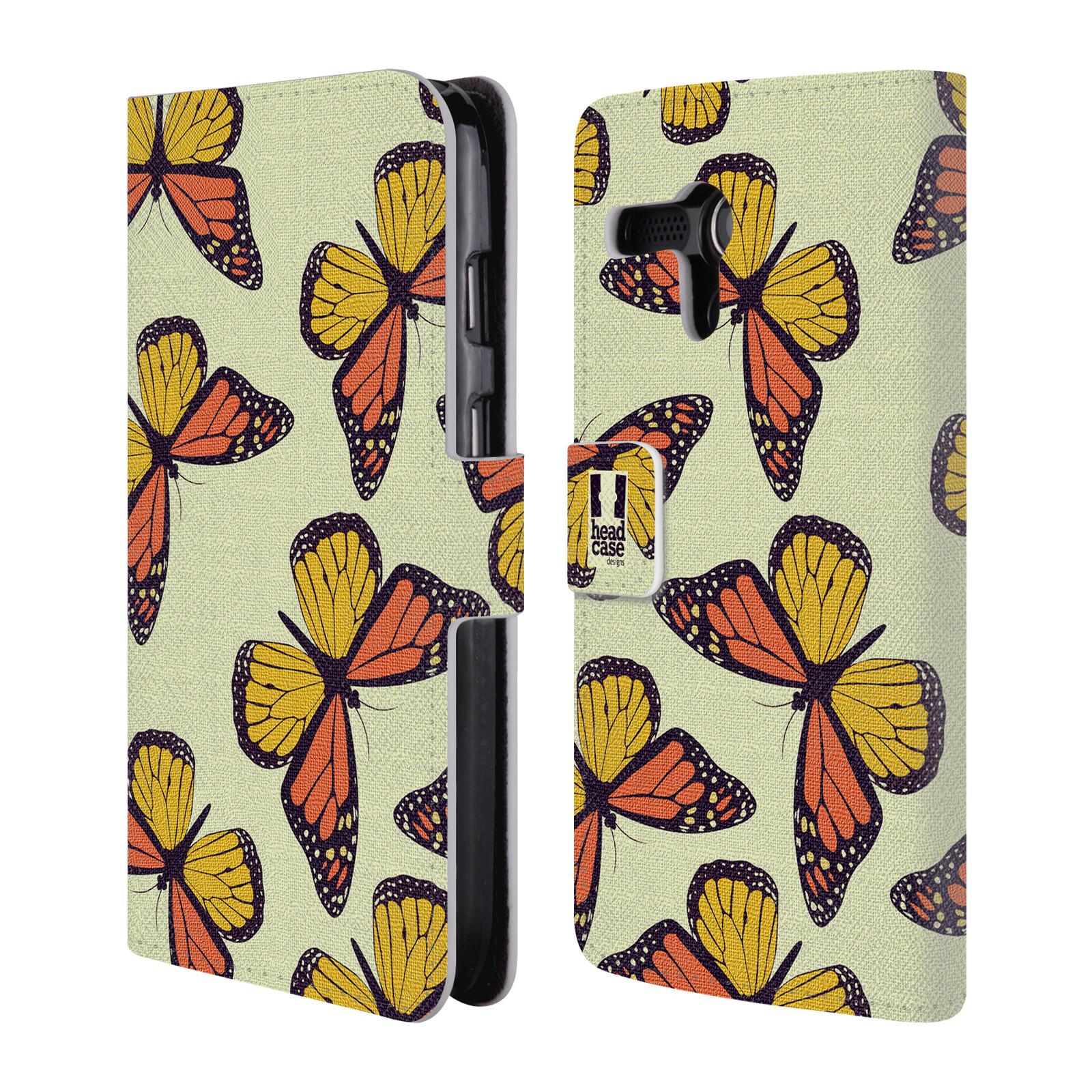 HEAD CASE Flipové pouzdro pro mobil MOTOROLA MOTO G Vzorkovaný motýl Monarcha oranžová