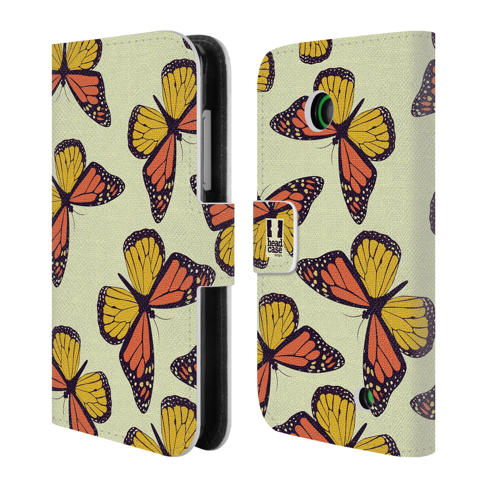 HEAD CASE Flipové pouzdro pro mobil NOKIA LUMIA 630 / LUMIA 630 DUAL Vzorkovaný motýl Monarcha oranžová