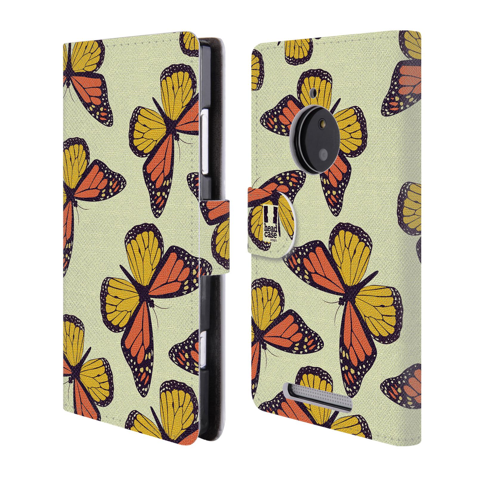 HEAD CASE Flipové pouzdro pro mobil NOKIA LUMIA 830 Vzorkovaný motýl Monarcha oranžová
