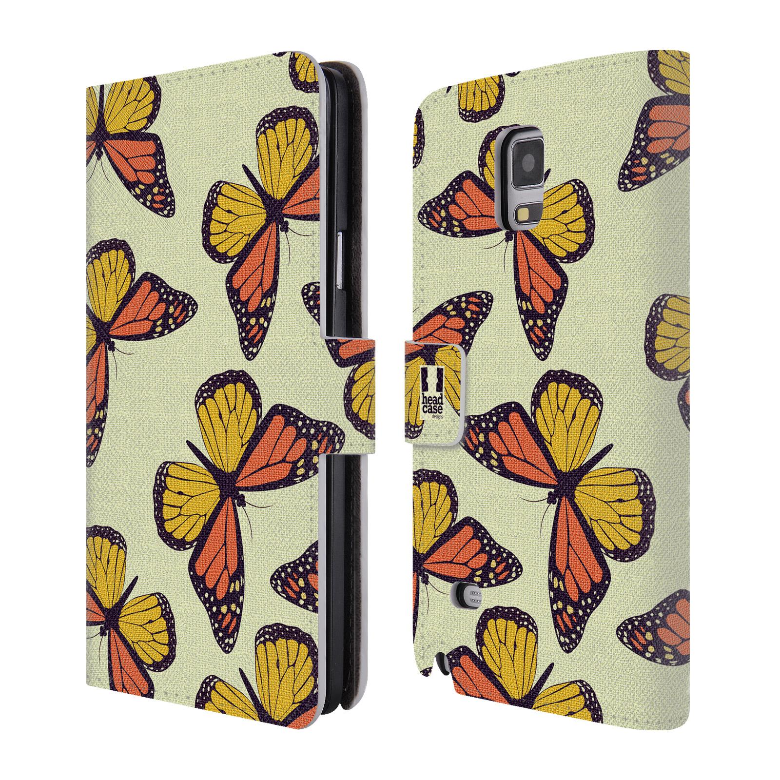 HEAD CASE Flipové pouzdro pro mobil Samsung Galaxy Note 4 Vzorkovaný motýl Monarcha oranžová