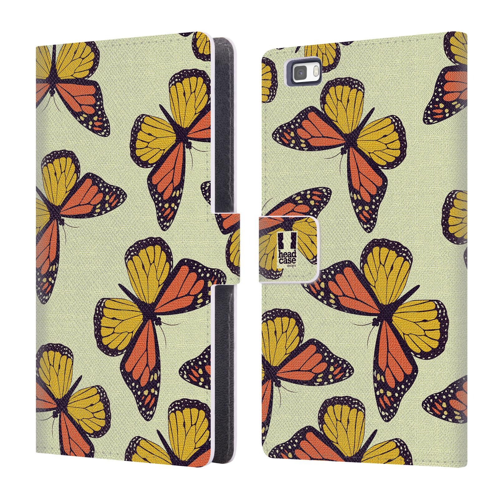 HEAD CASE Flipové pouzdro pro mobil Huawei P8 LITE Vzorkovaný motýl Monarcha oranžová