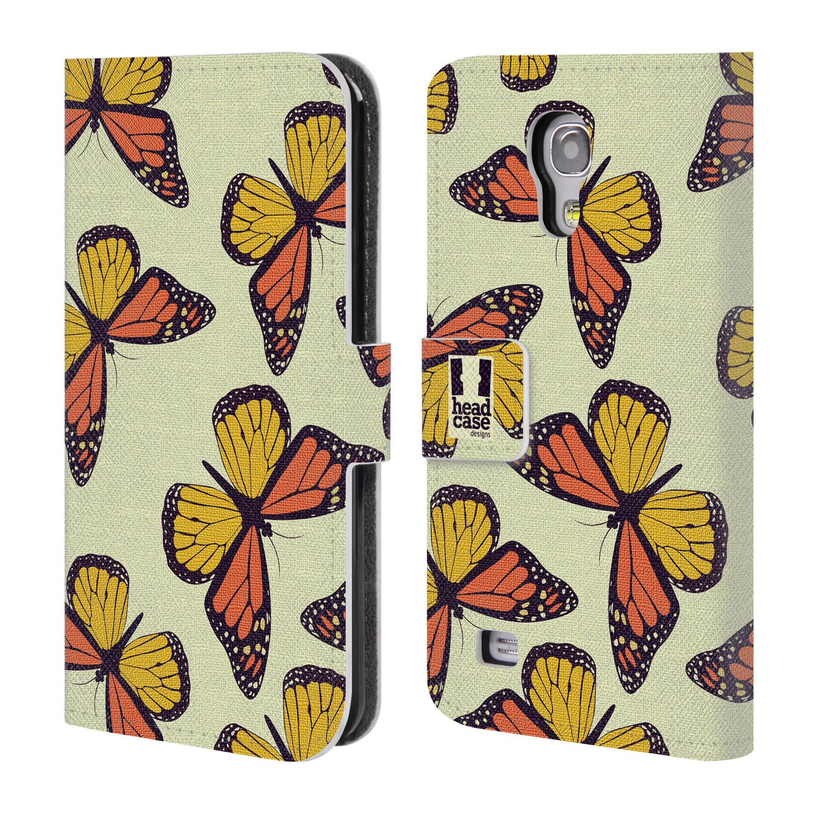 HEAD CASE Flipové pouzdro pro mobil Samsung Galaxy S4 MINI / S4 MINI DUOS Vzorkovaný motýl Monarcha oranžová