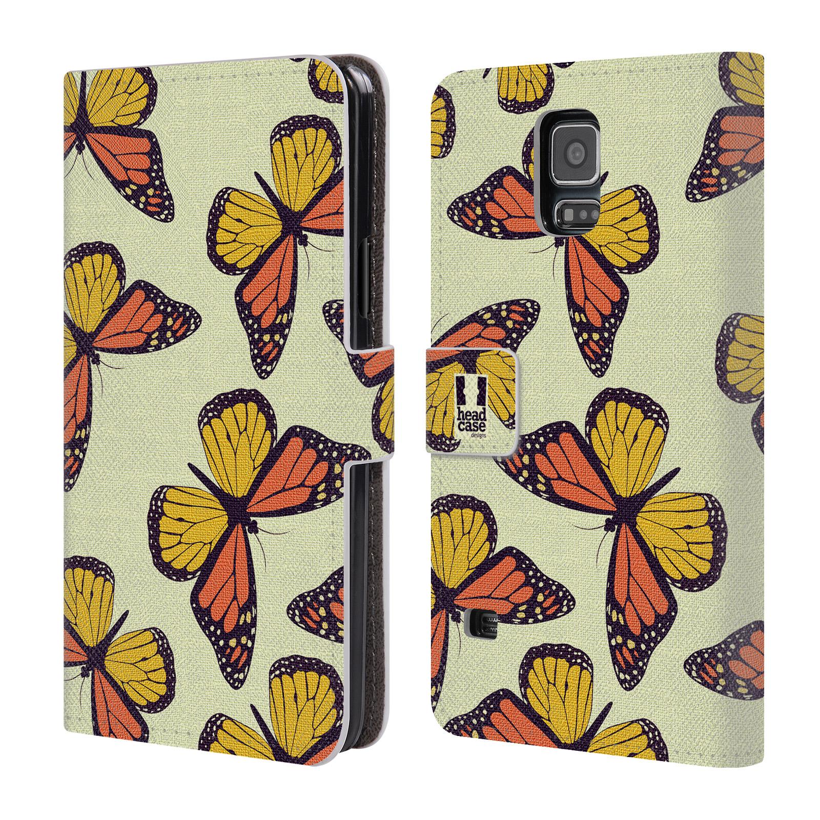 HEAD CASE Flipové pouzdro pro mobil Samsung Galaxy S5 / S5 NEO Vzorkovaný motýl Monarcha oranžová