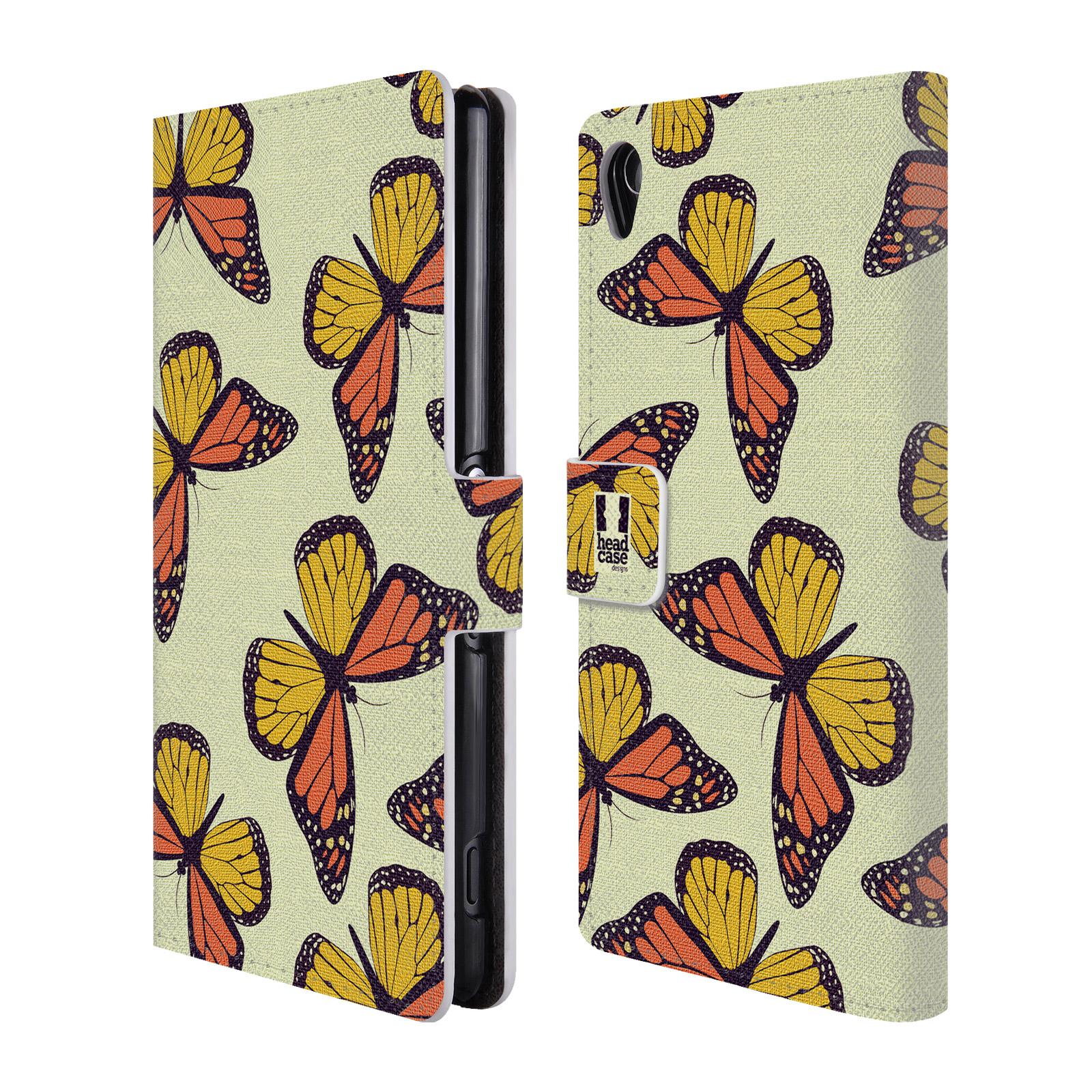 HEAD CASE Flipové pouzdro pro mobil SONY XPERIA Z3 Vzorkovaný motýl Monarcha oranžová