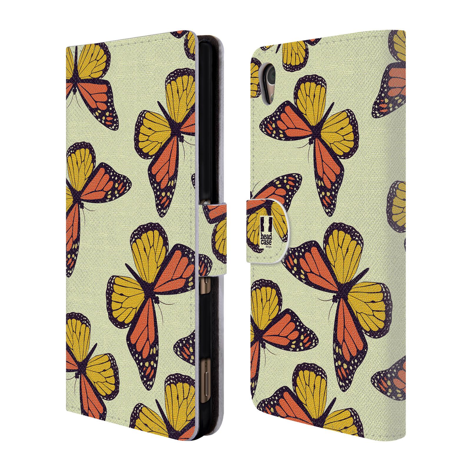 HEAD CASE Flipové pouzdro pro mobil SONY XPERIA Z3+ (PLUS) Vzorkovaný motýl Monarcha oranžová