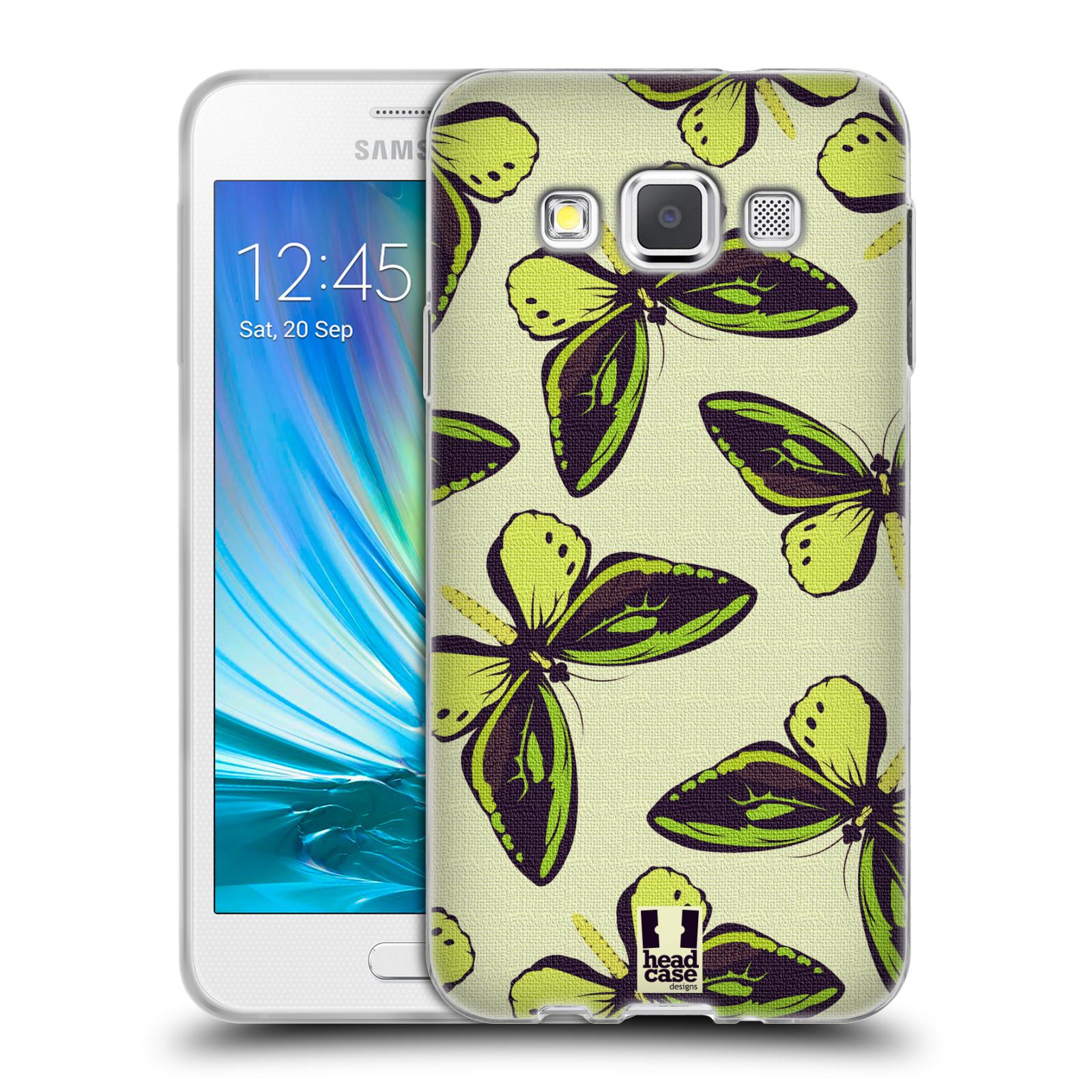 HEAD CASE silikonový obal na mobil Samsung Galaxy A3 vzor Motýlci Poseidon zelená