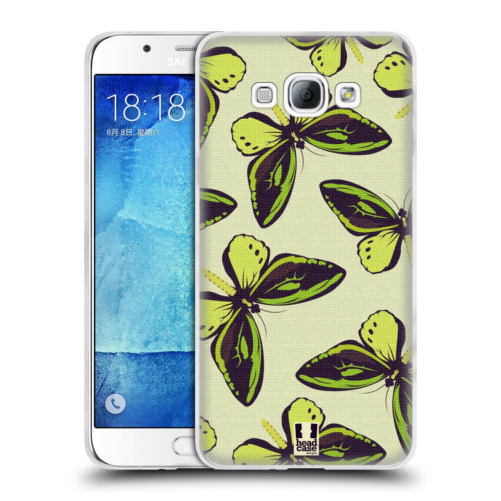 HEAD CASE silikonový obal na mobil Samsung Galaxy A8 vzor Motýlci Poseidon zelená