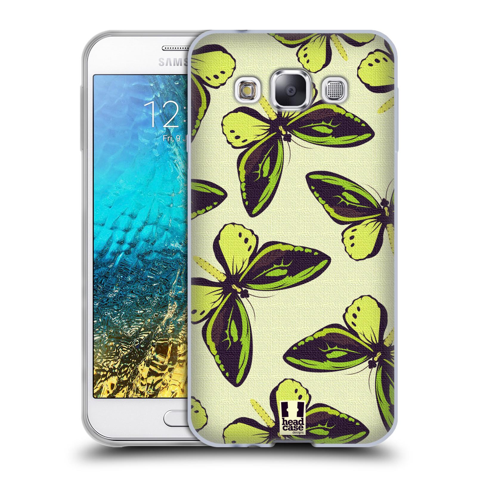 HEAD CASE silikonový obal na mobil Samsung Galaxy E5 vzor Motýlci Poseidon zelená