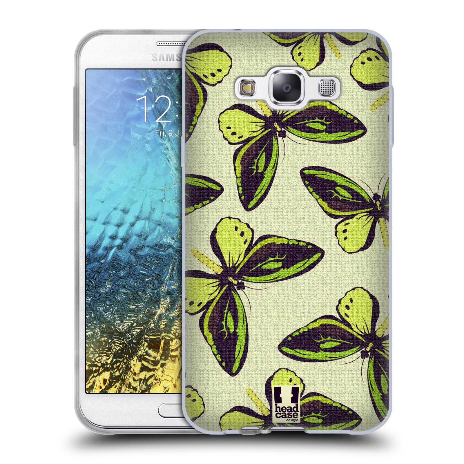 HEAD CASE silikonový obal na mobil Samsung Galaxy E7 vzor Motýlci Poseidon zelená