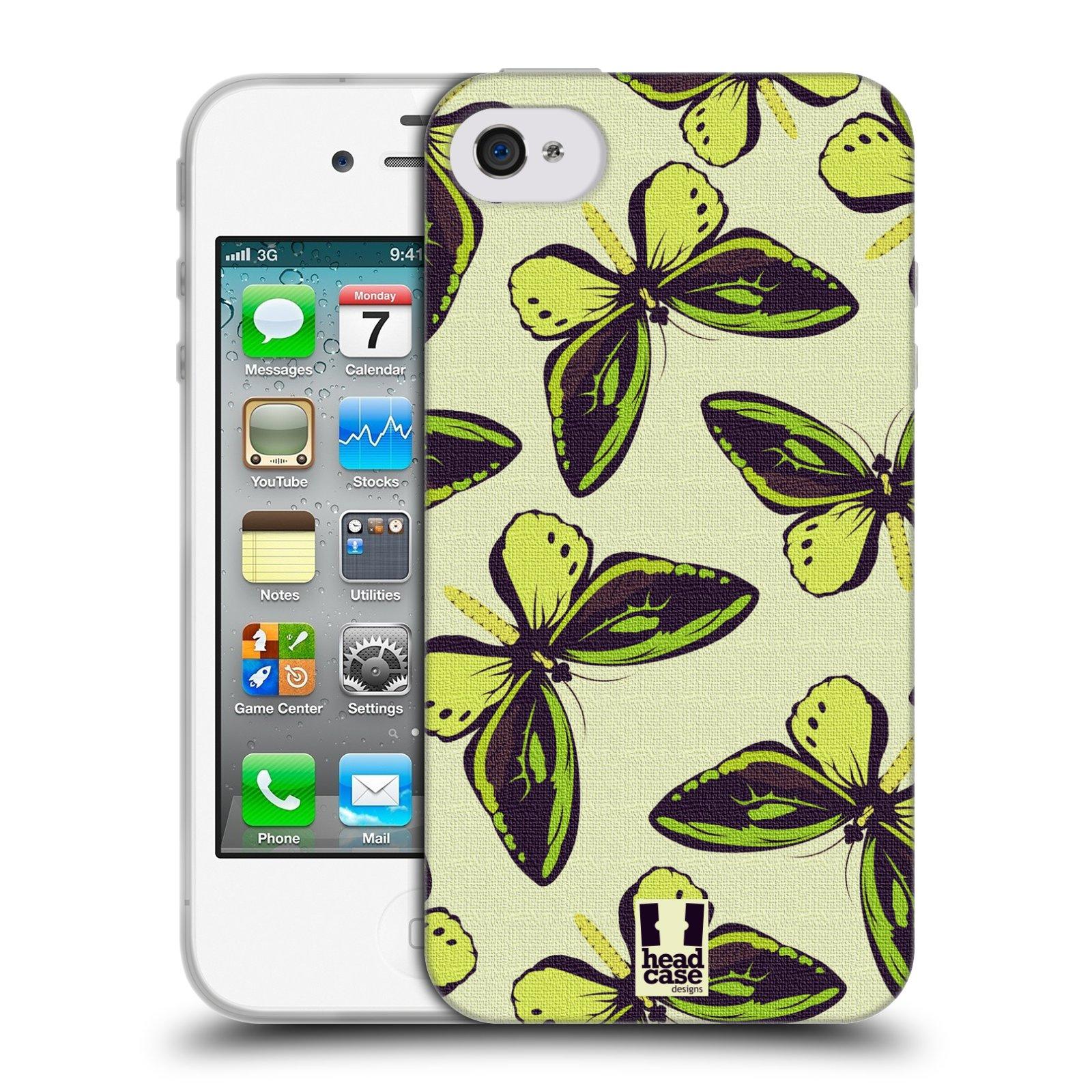 HEAD CASE silikonový obal na mobil Apple Iphone 4/4S vzor Motýlci Poseidon zelená