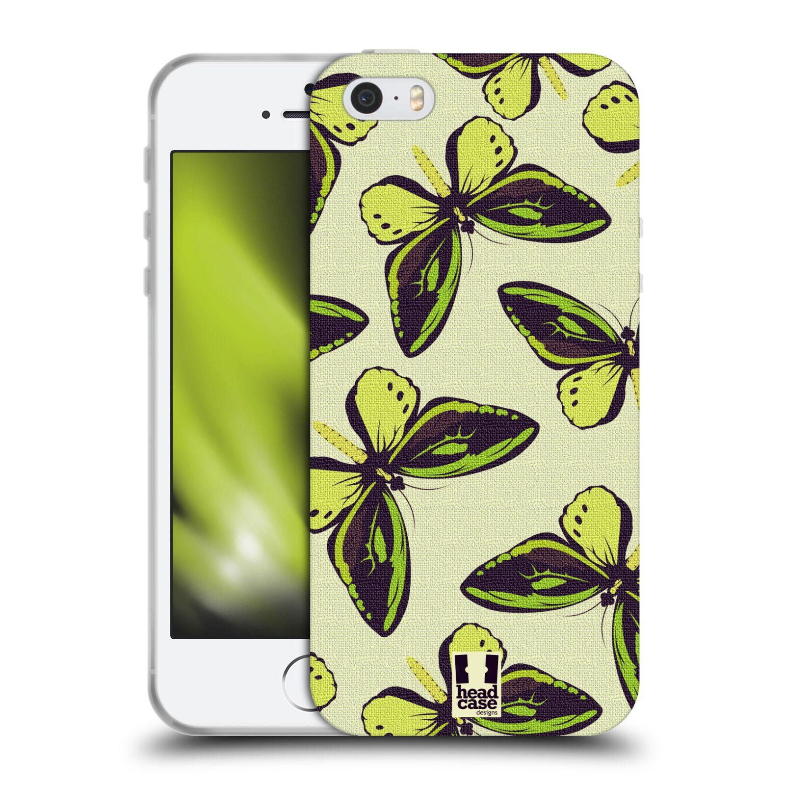 HEAD CASE silikonový obal na mobil Apple Iphone 5/5S vzor Motýlci Poseidon zelená