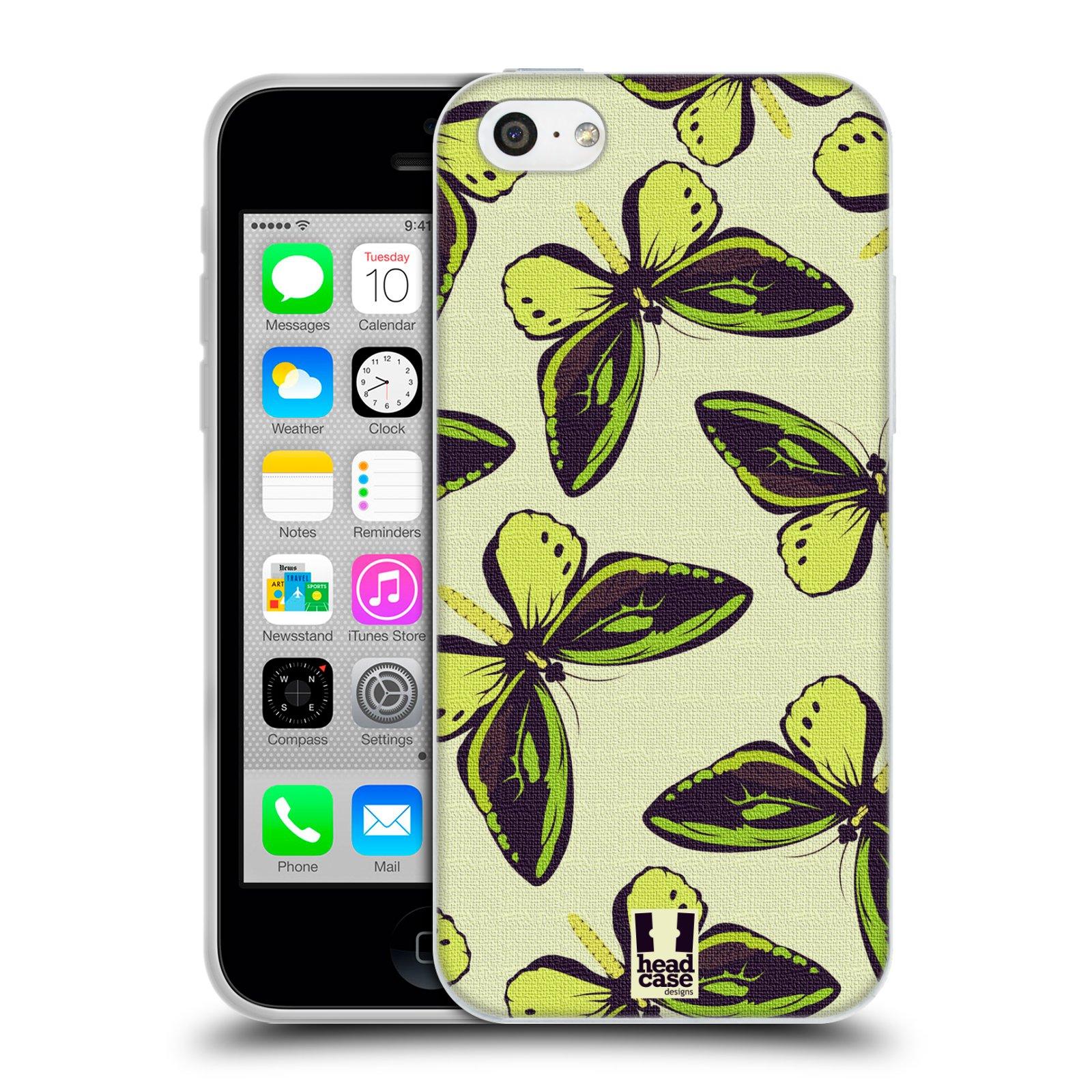 HEAD CASE silikonový obal na mobil Apple Iphone 5C vzor Motýlci Poseidon zelená