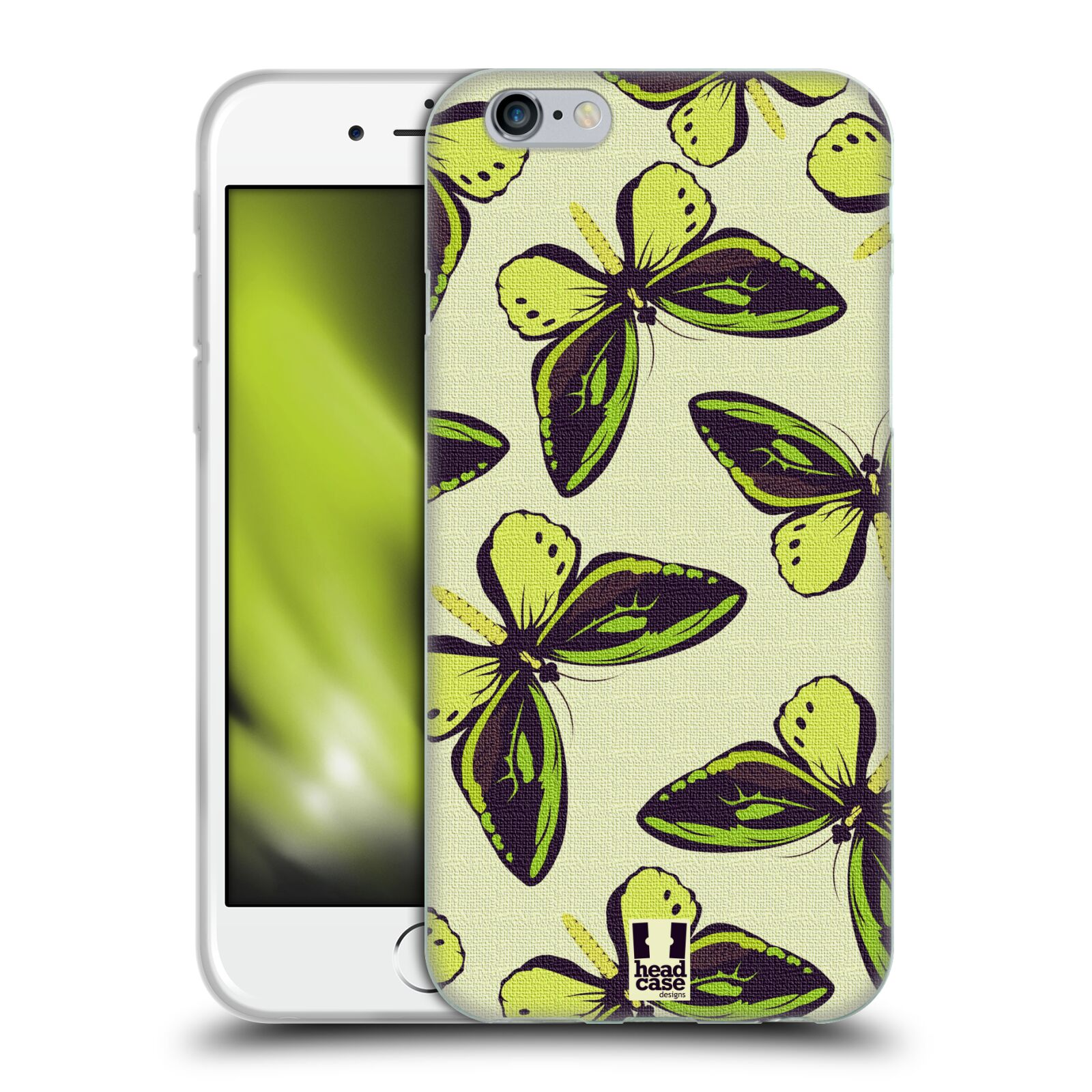 HEAD CASE silikonový obal na mobil Apple Iphone 6/6S vzor Motýlci Poseidon zelená