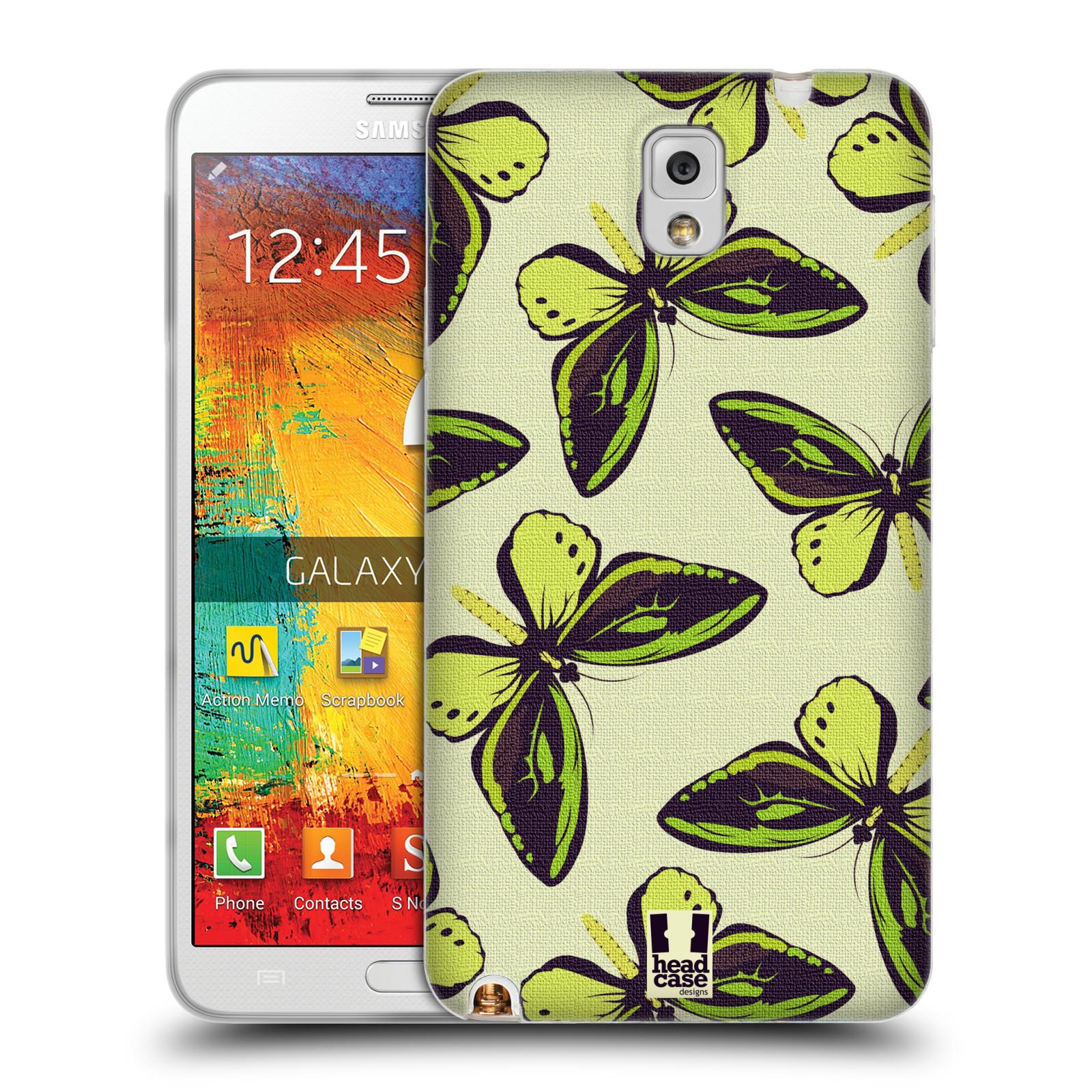 HEAD CASE silikonový obal na mobil Samsung Galaxy Note 3 (N9005) vzor Motýlci Poseidon zelená