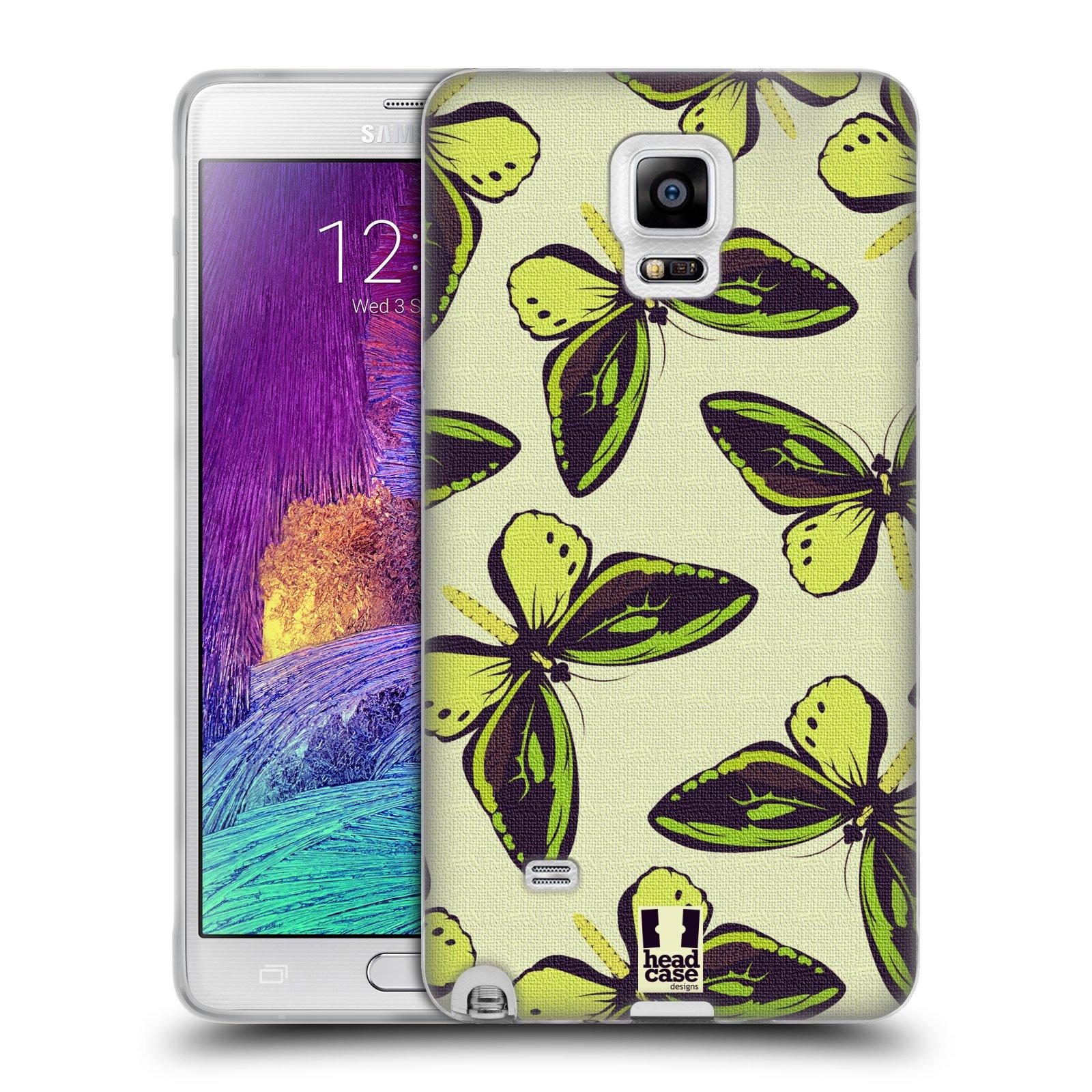 HEAD CASE silikonový obal na mobil Samsung Galaxy Note 4 (N910) vzor Motýlci Poseidon zelená