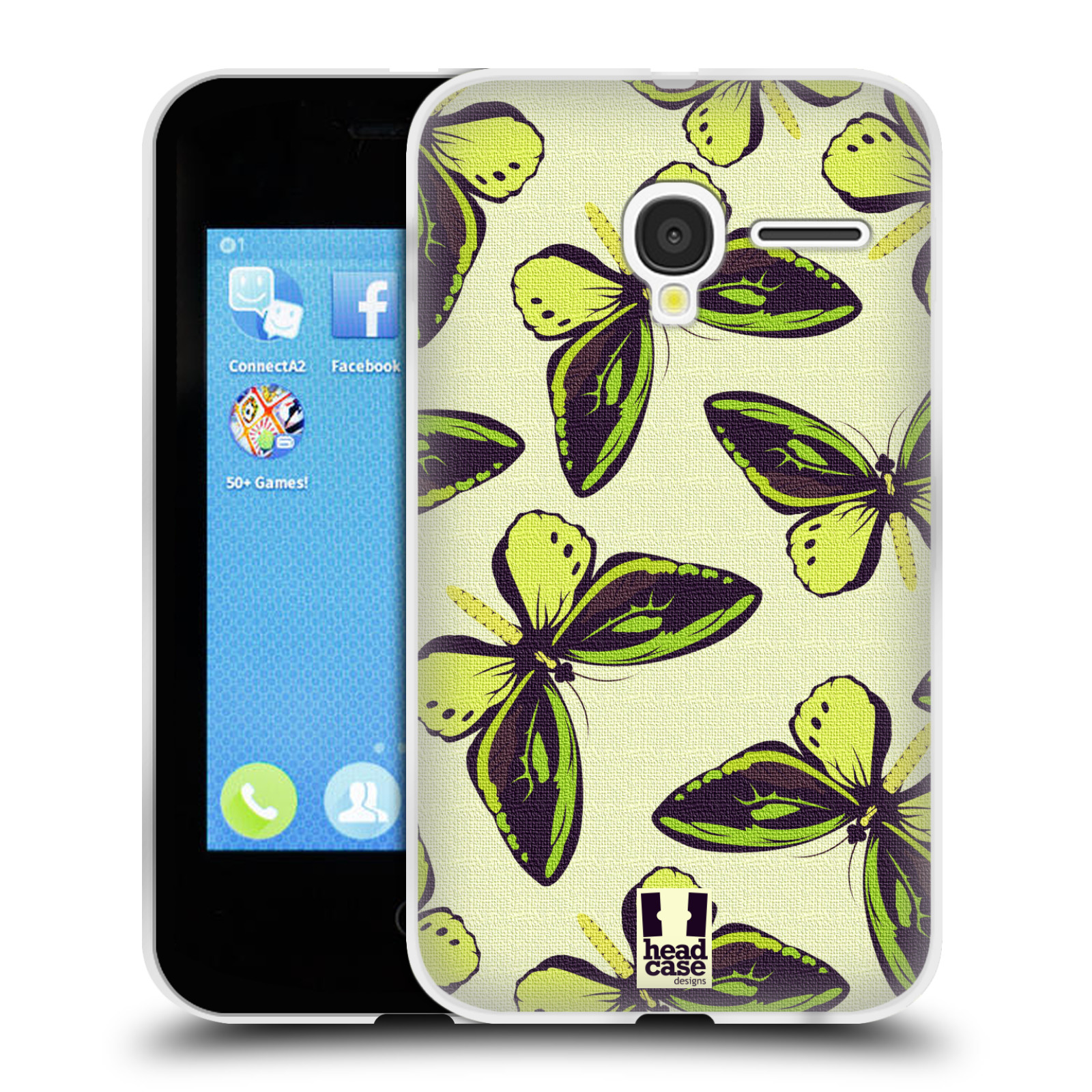 HEAD CASE silikonový obal na mobil Alcatel PIXI 3 OT-4022D (3,5 palcový displej) vzor Motýlci Poseidon zelená