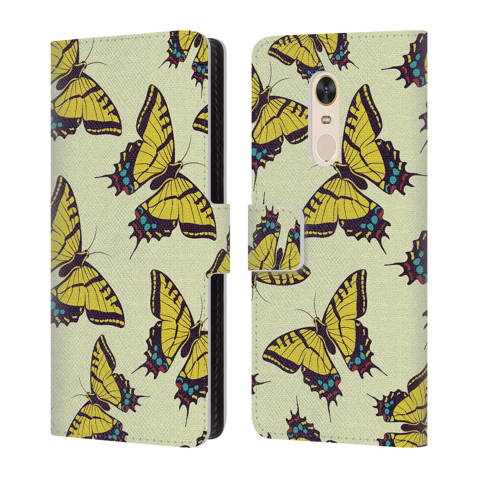 HEAD CASE Flipové pouzdro pro mobil Xiaomi Redmi 5 PLUS Vzorkovaný motýl žlutá