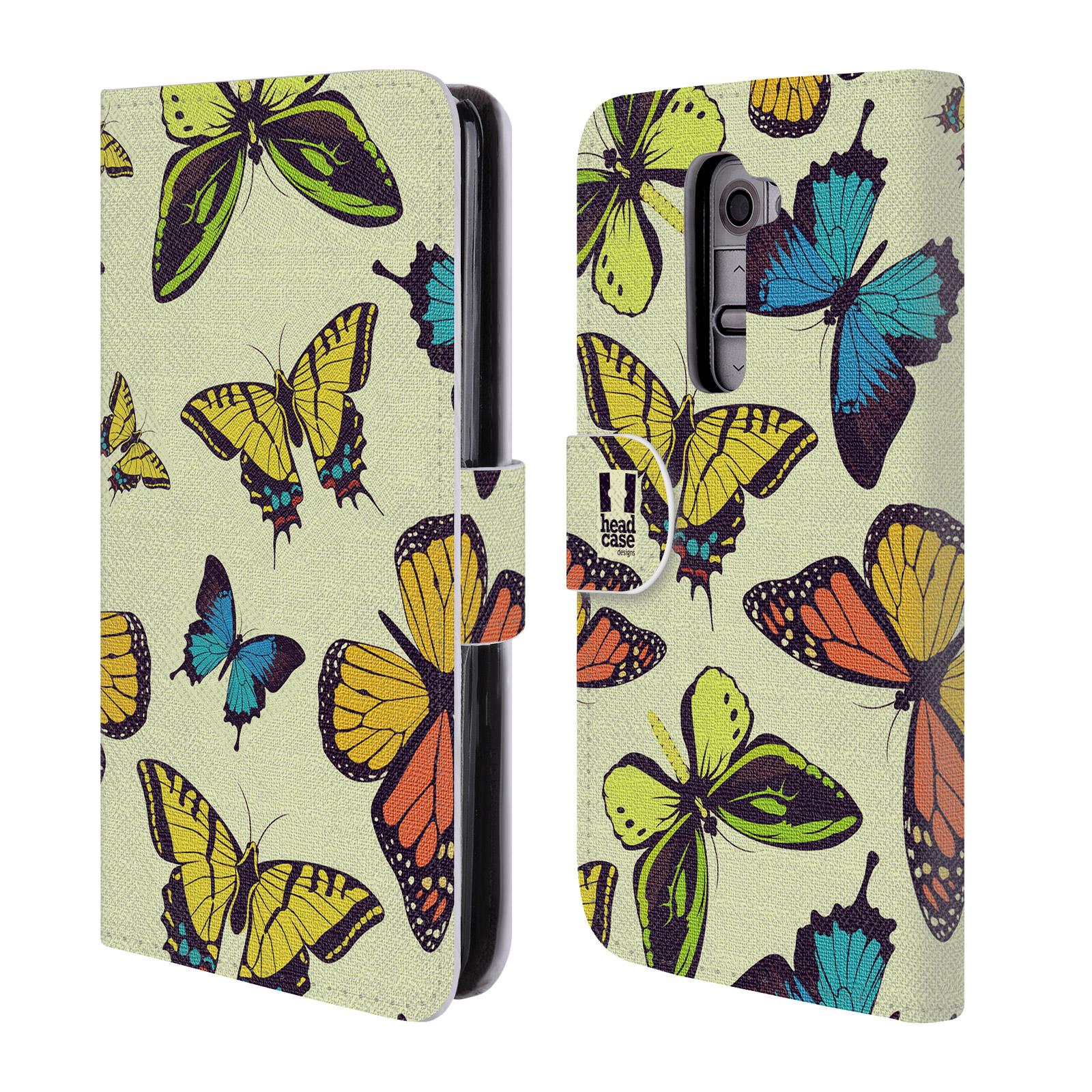 HEAD CASE Flipové pouzdro pro mobil LG G2 (D802) Vzorkovaný motýl MIX