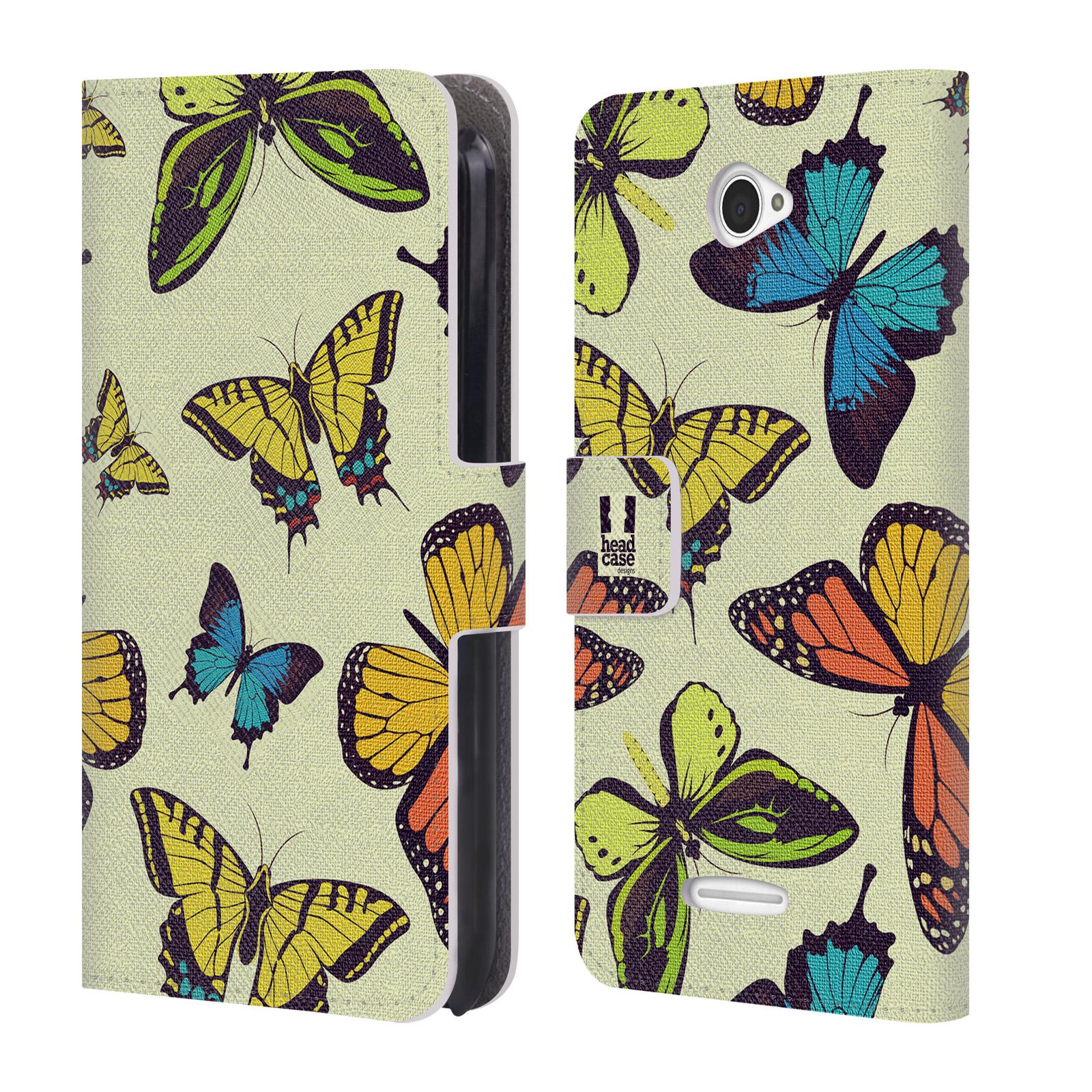 HEAD CASE Flipové pouzdro pro mobil SONY XPERIA E4 Vzorkovaný motýl MIX