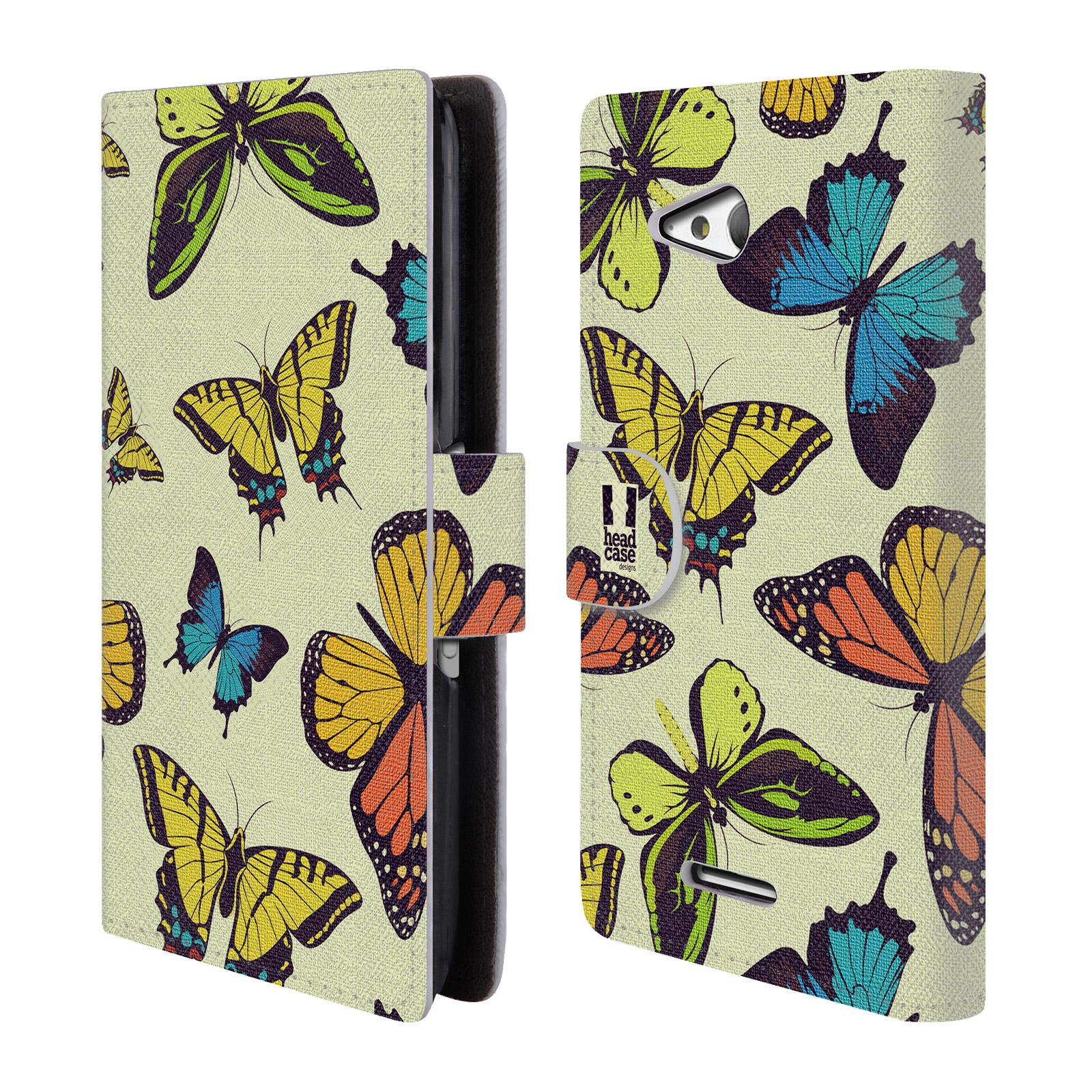 HEAD CASE Flipové pouzdro pro mobil SONY XPERIA E4g Vzorkovaný motýl MIX