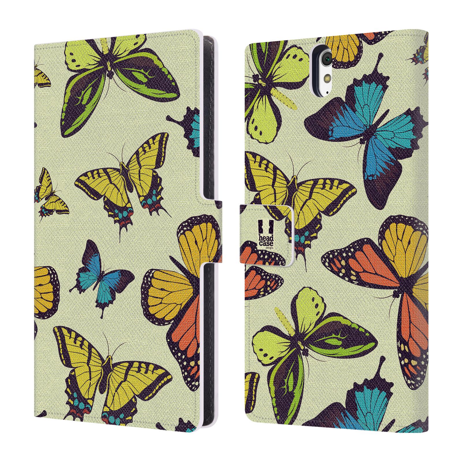 HEAD CASE Flipové pouzdro pro mobil SONY XPERIA C5 Ultra Vzorkovaný motýl MIX