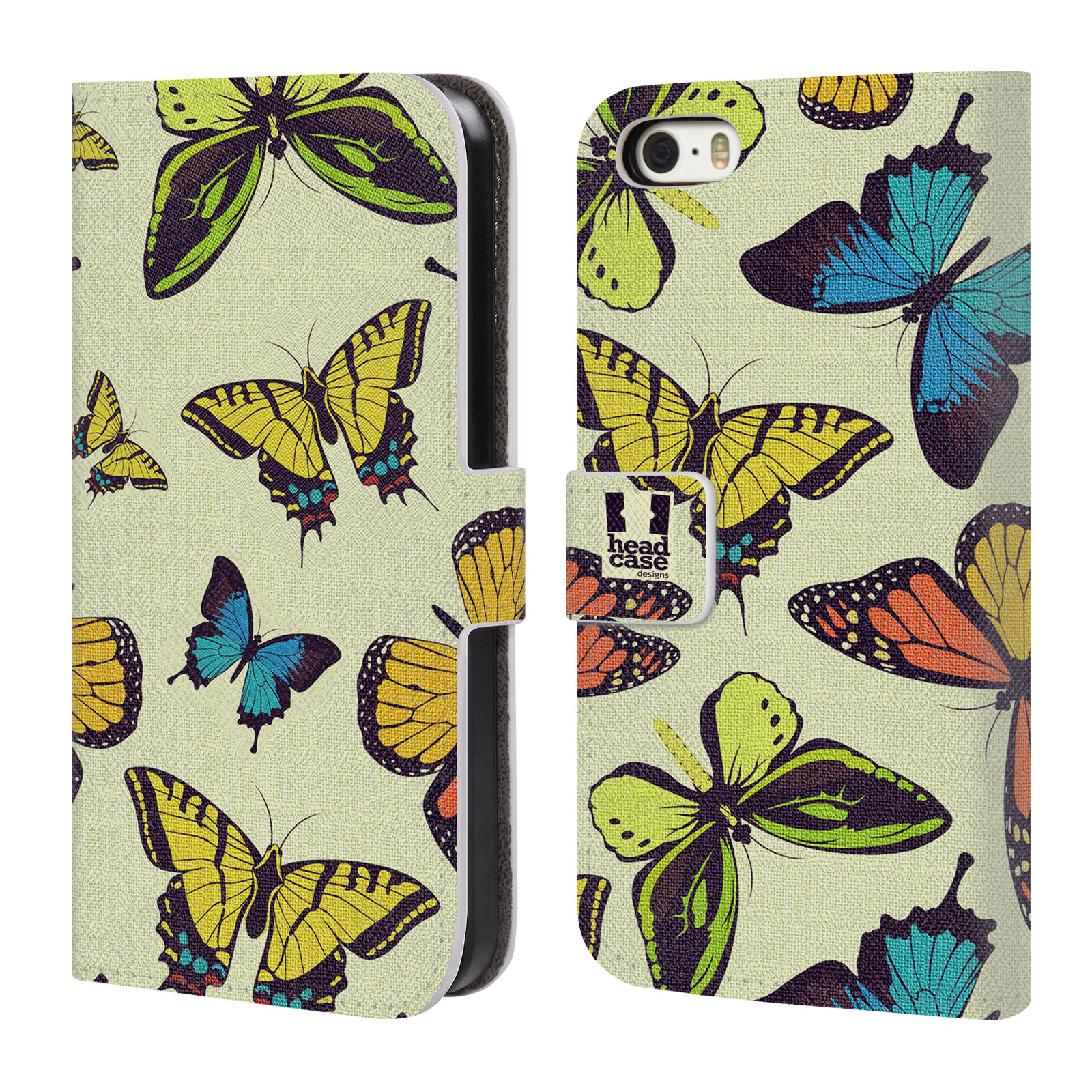 HEAD CASE Flipové pouzdro pro mobil Apple Iphone 5/5s Vzorkovaný motýl MIX