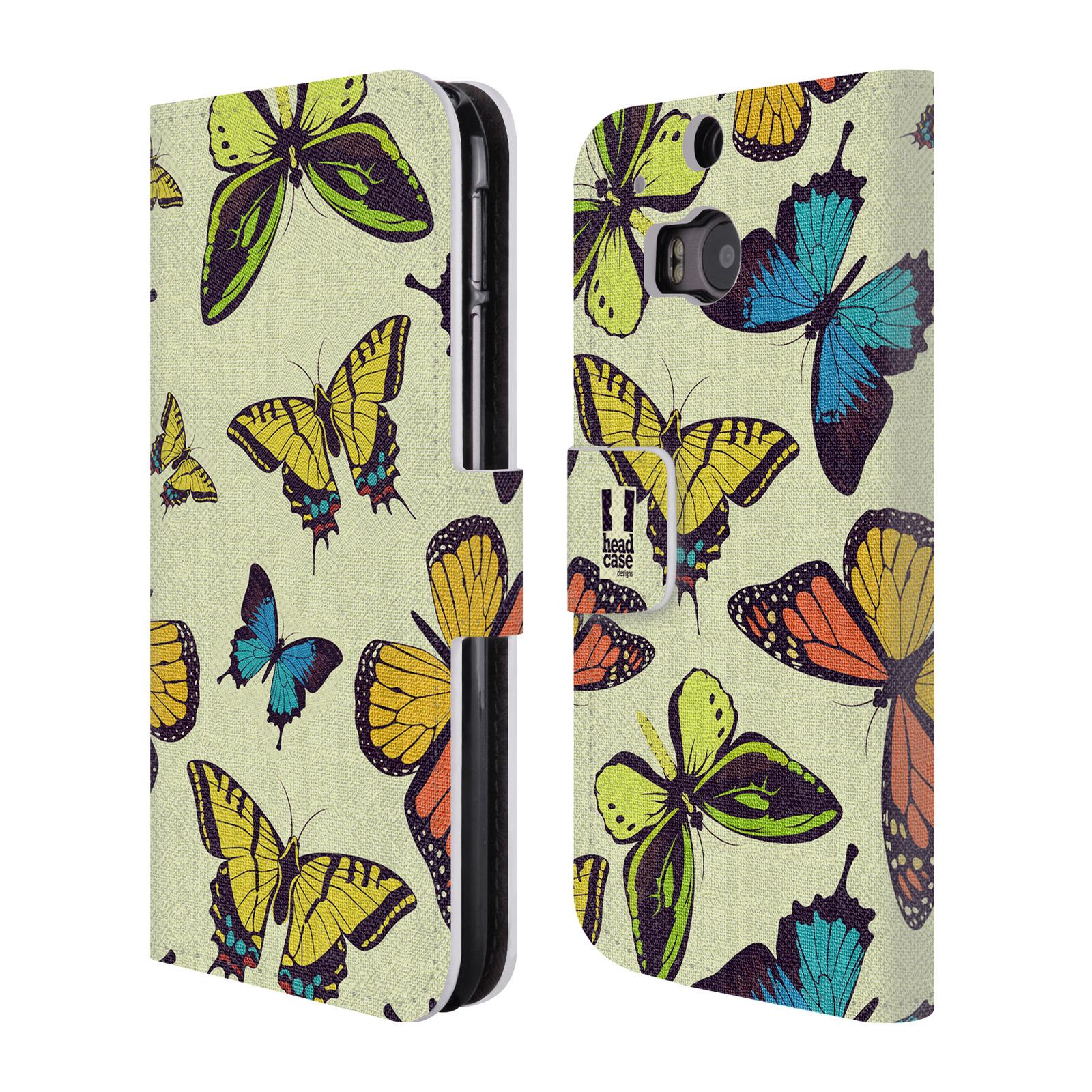 HEAD CASE Flipové pouzdro pro mobil HTC ONE (M8, M8s) Vzorkovaný motýl MIX
