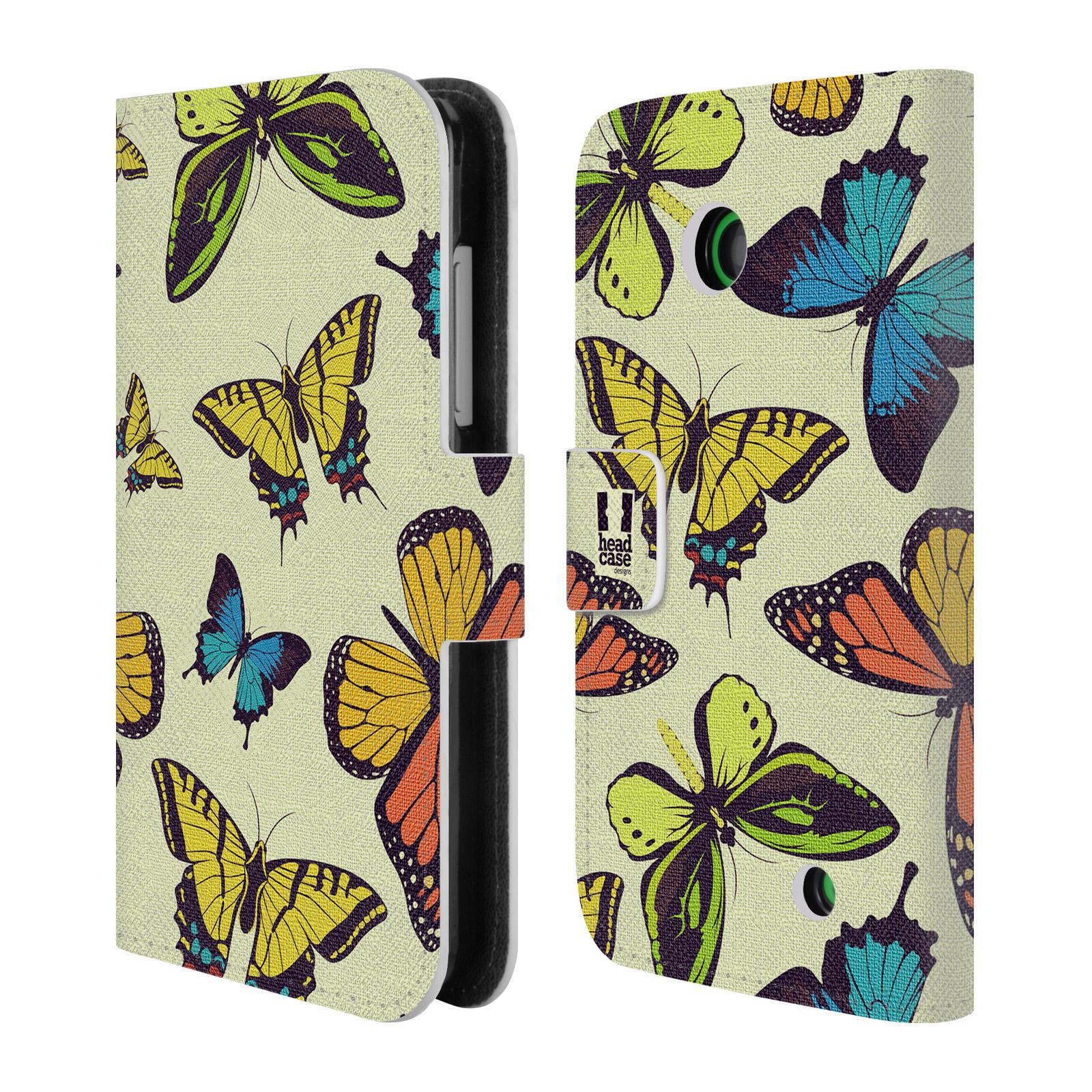 HEAD CASE Flipové pouzdro pro mobil NOKIA LUMIA 630 / LUMIA 630 DUAL Vzorkovaný motýl MIX