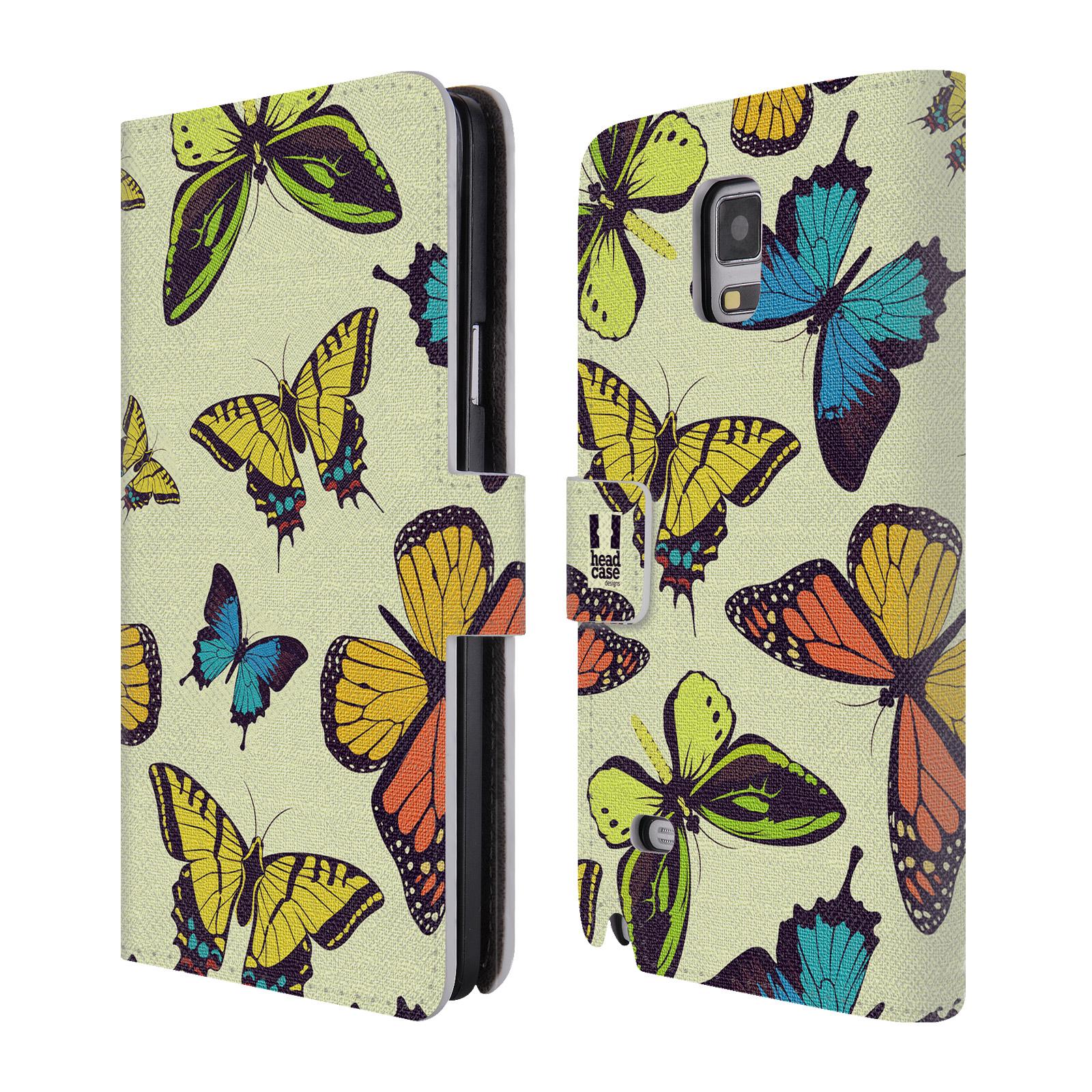 HEAD CASE Flipové pouzdro pro mobil Samsung Galaxy Note 4 Vzorkovaný motýl MIX