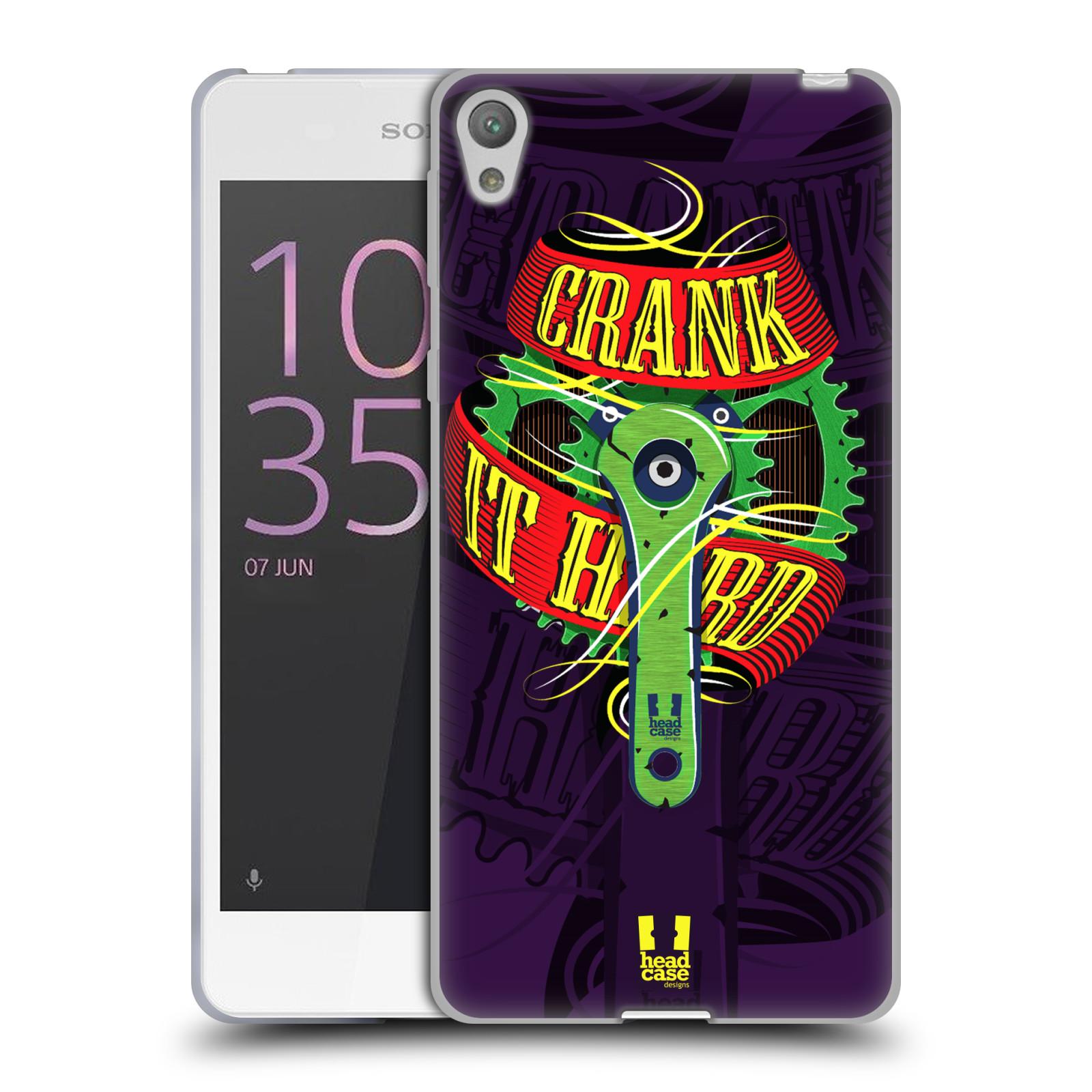 HEAD CASE silikonový obal na mobil Sony Xperia E5 Cyklista pedály šlápni do toho CRANK IT HARD