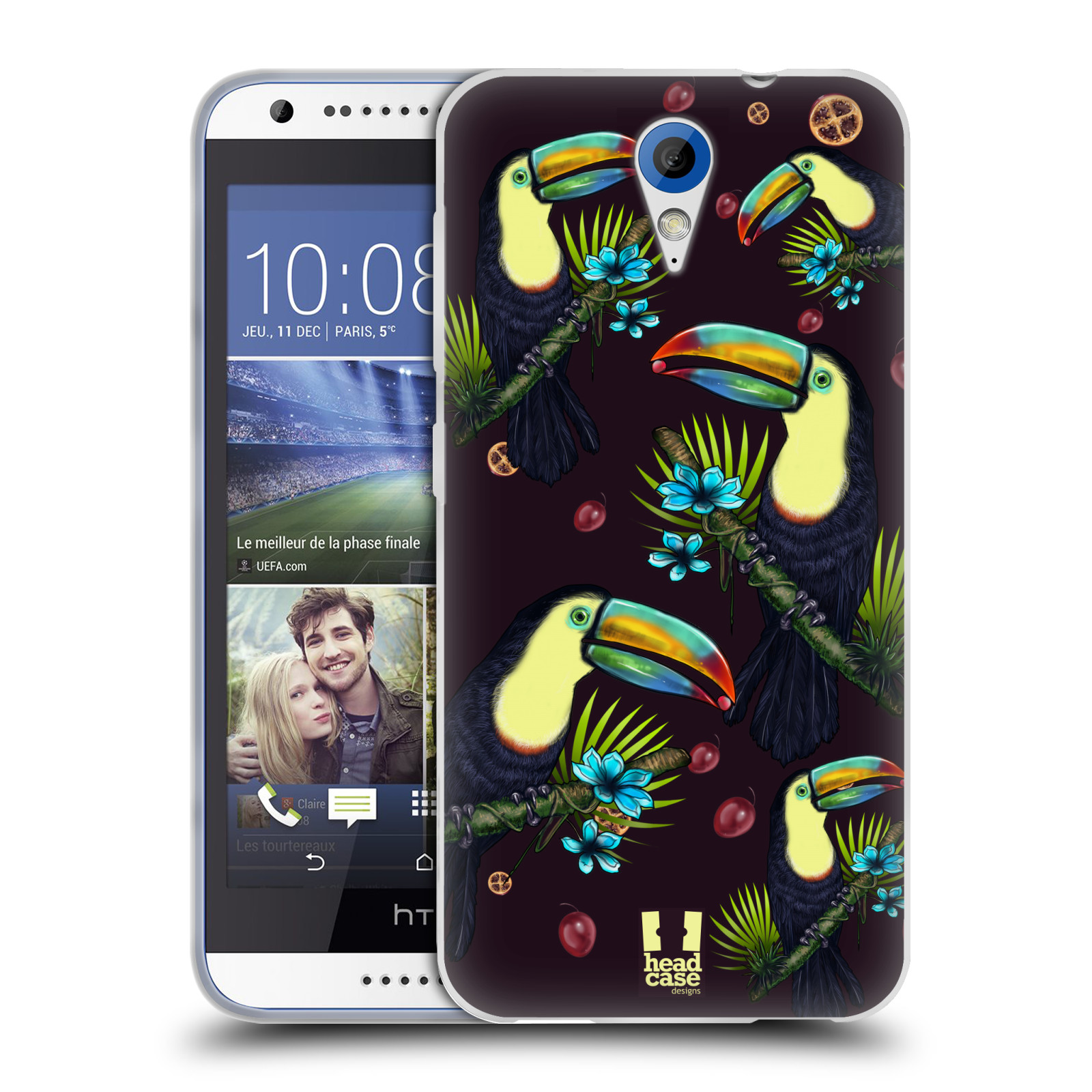 HEAD CASE BIRDS AND FRUITS SILICONE GEL CASE FOR HTC DESIRE 620G